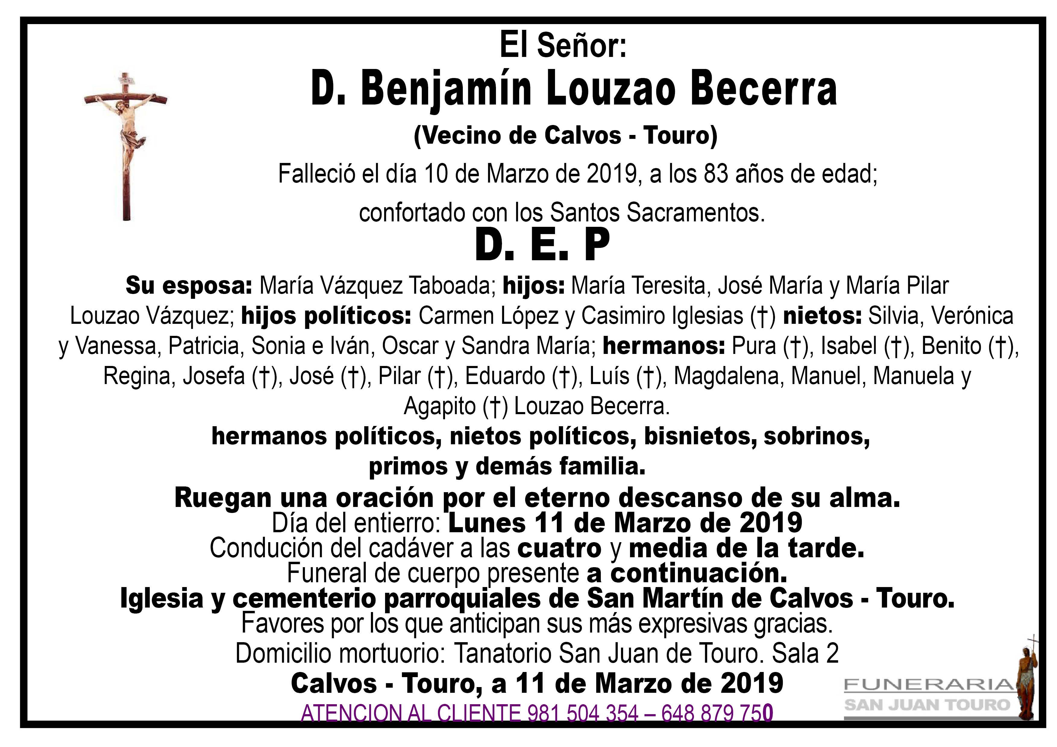 Esquela de SEPELIO DE DON BENJAMÍN LOUZAO BECERRA