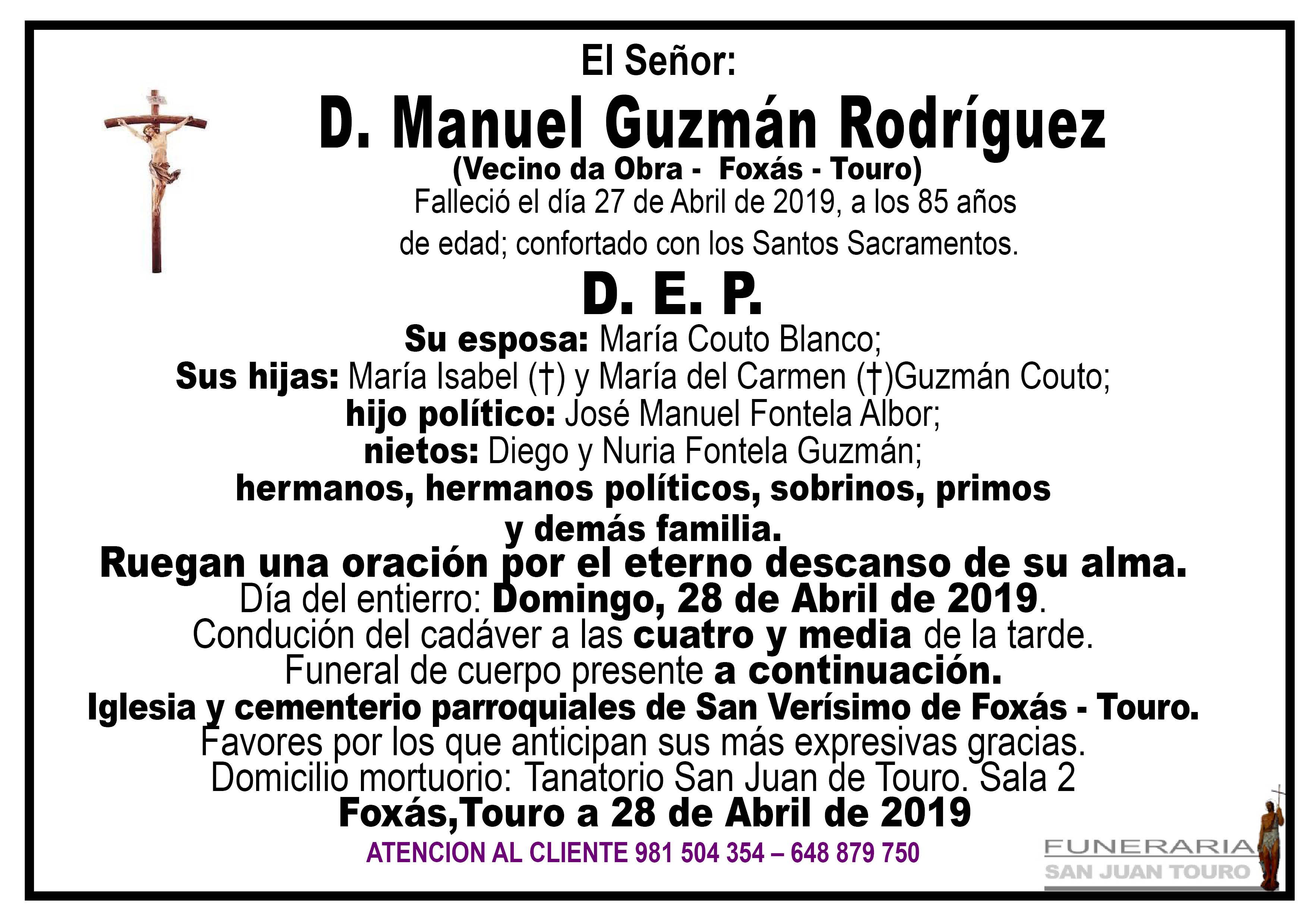 Esquela de SEPELIO DE DON MANUEL GUZMÁN RODRÍGUEZ
