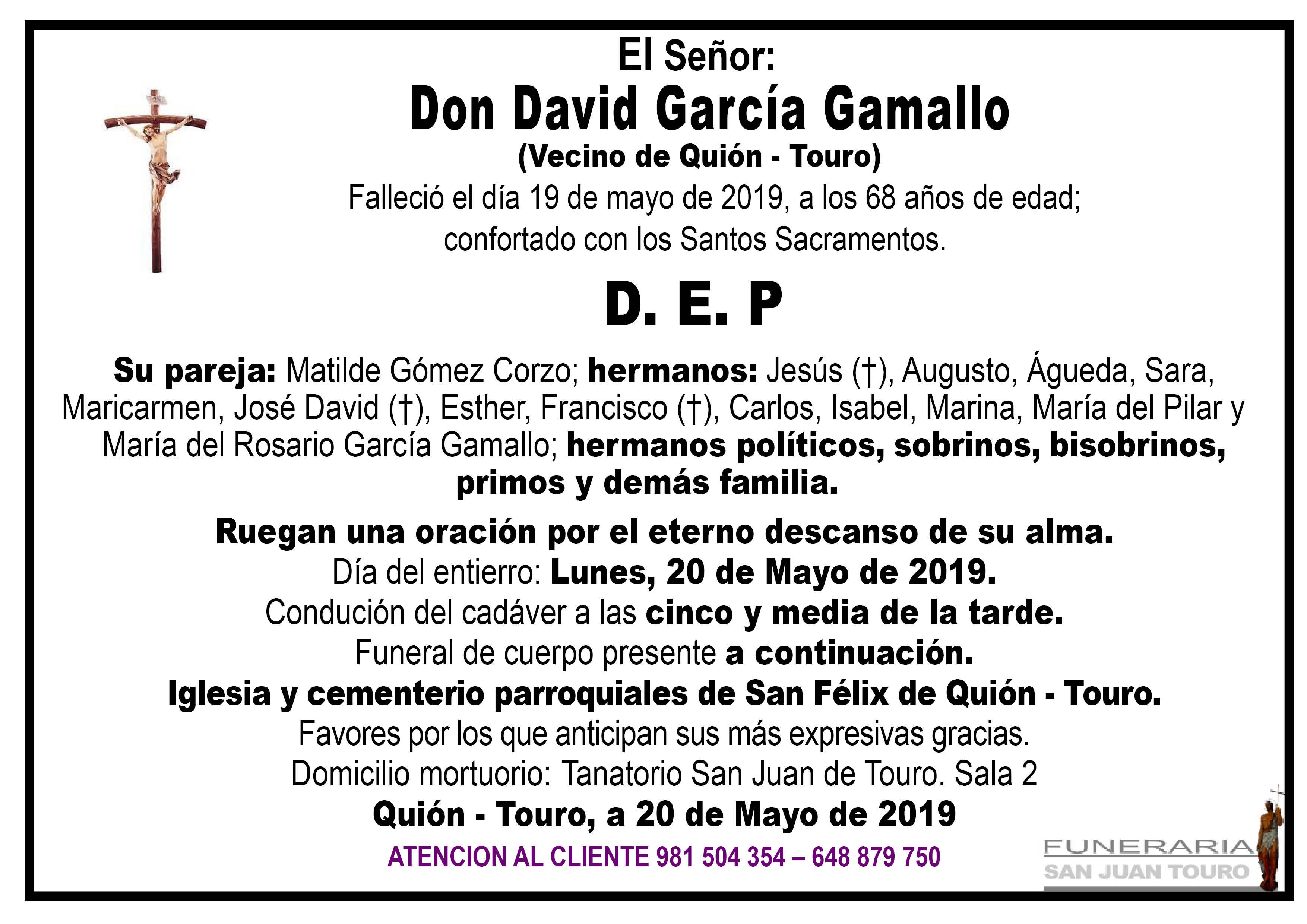 Esquela de SEPELIO DE DON DAVID CARCÍA GAMALLO
