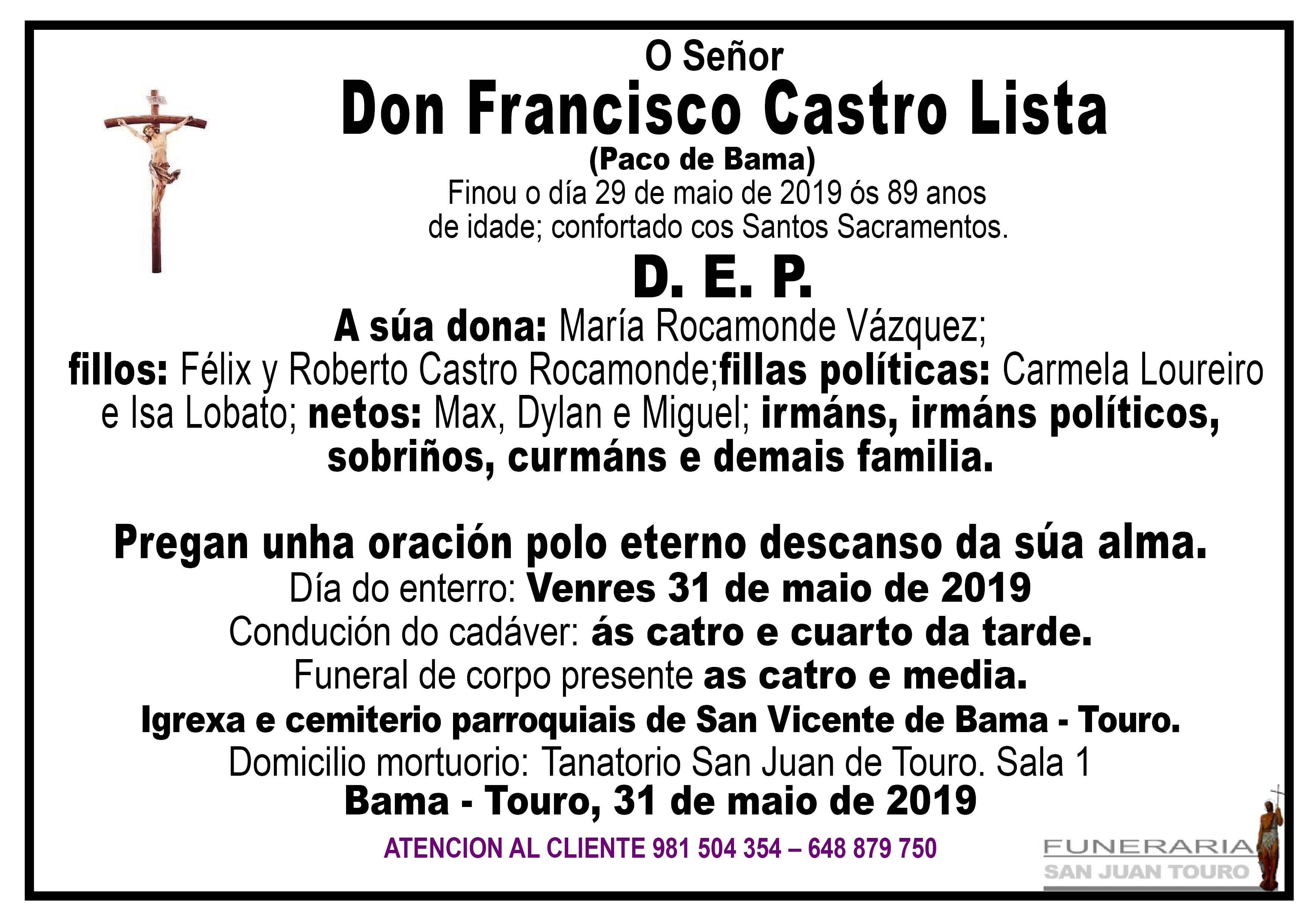 Esquela de SEPELIO DE DON FRANCISCO CASTRO LISTA
