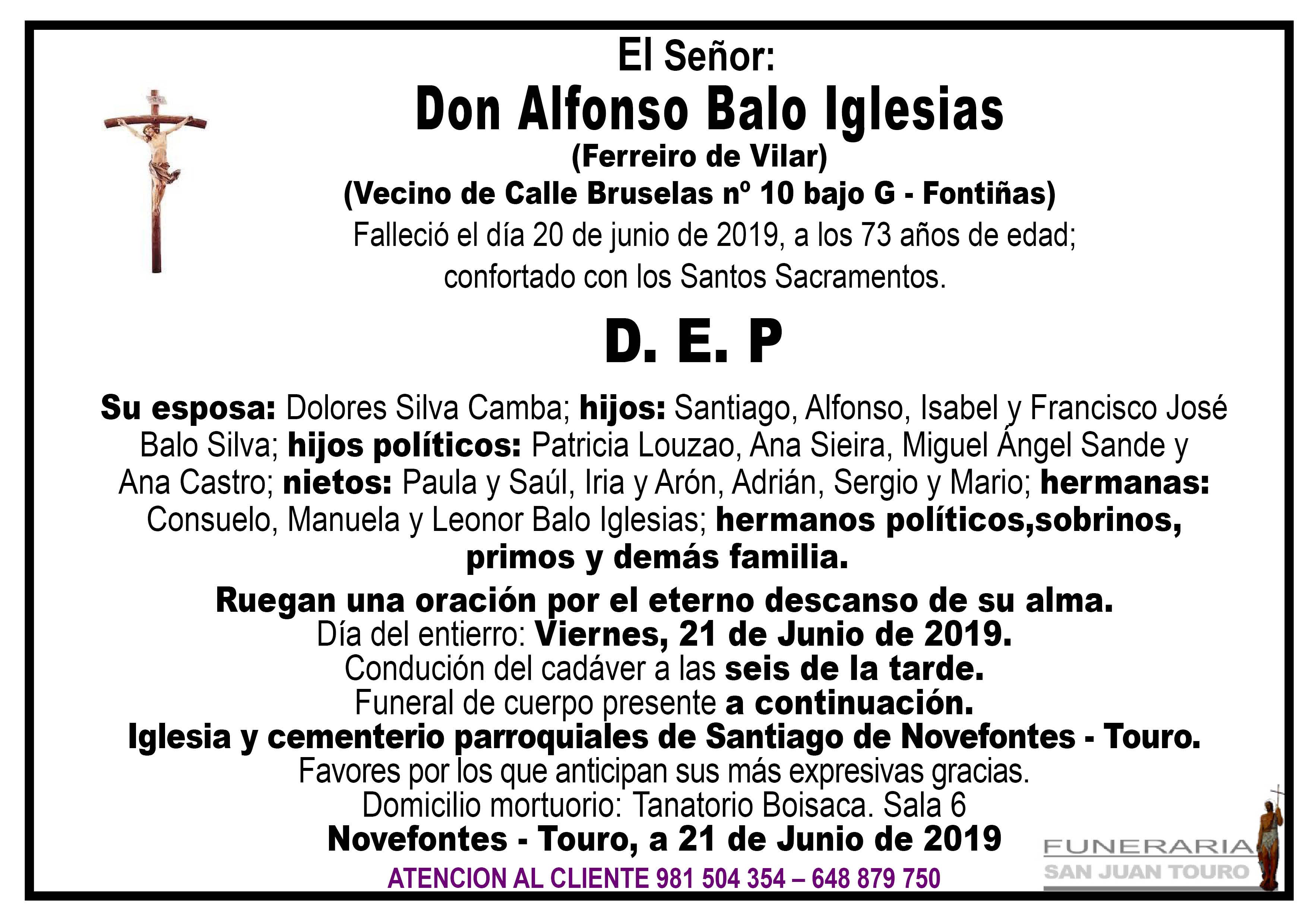Esquela de SEPELIO DE DON ALFONSO BALO IGLESIAS