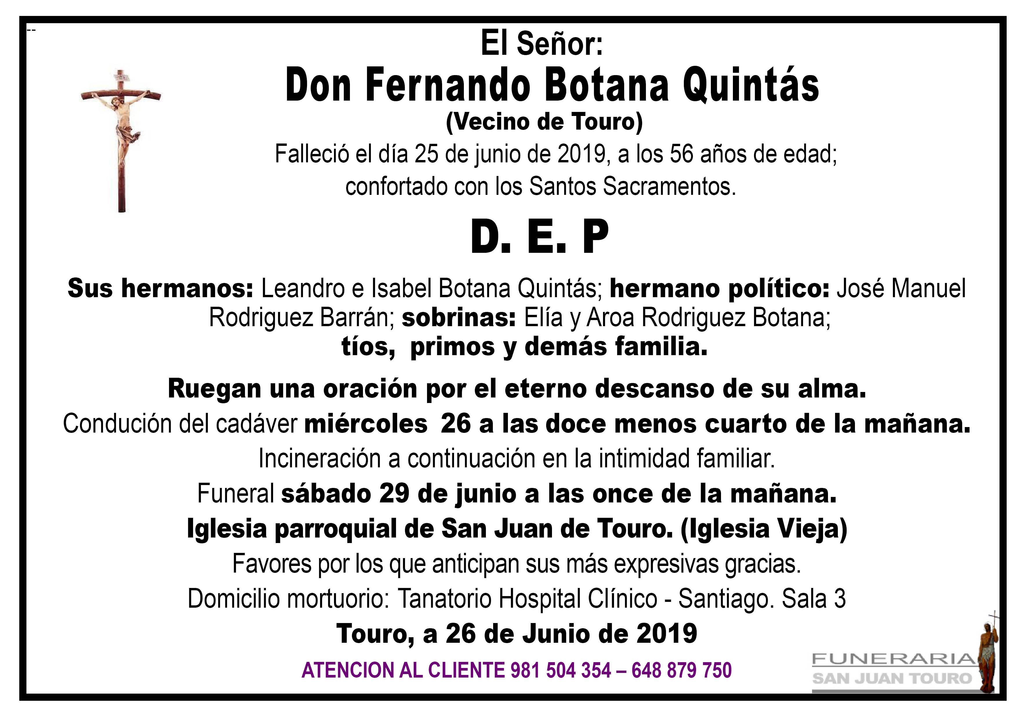 Esquela de SEPELIO DE DON FERNANDO BOTANA QUINTÁS