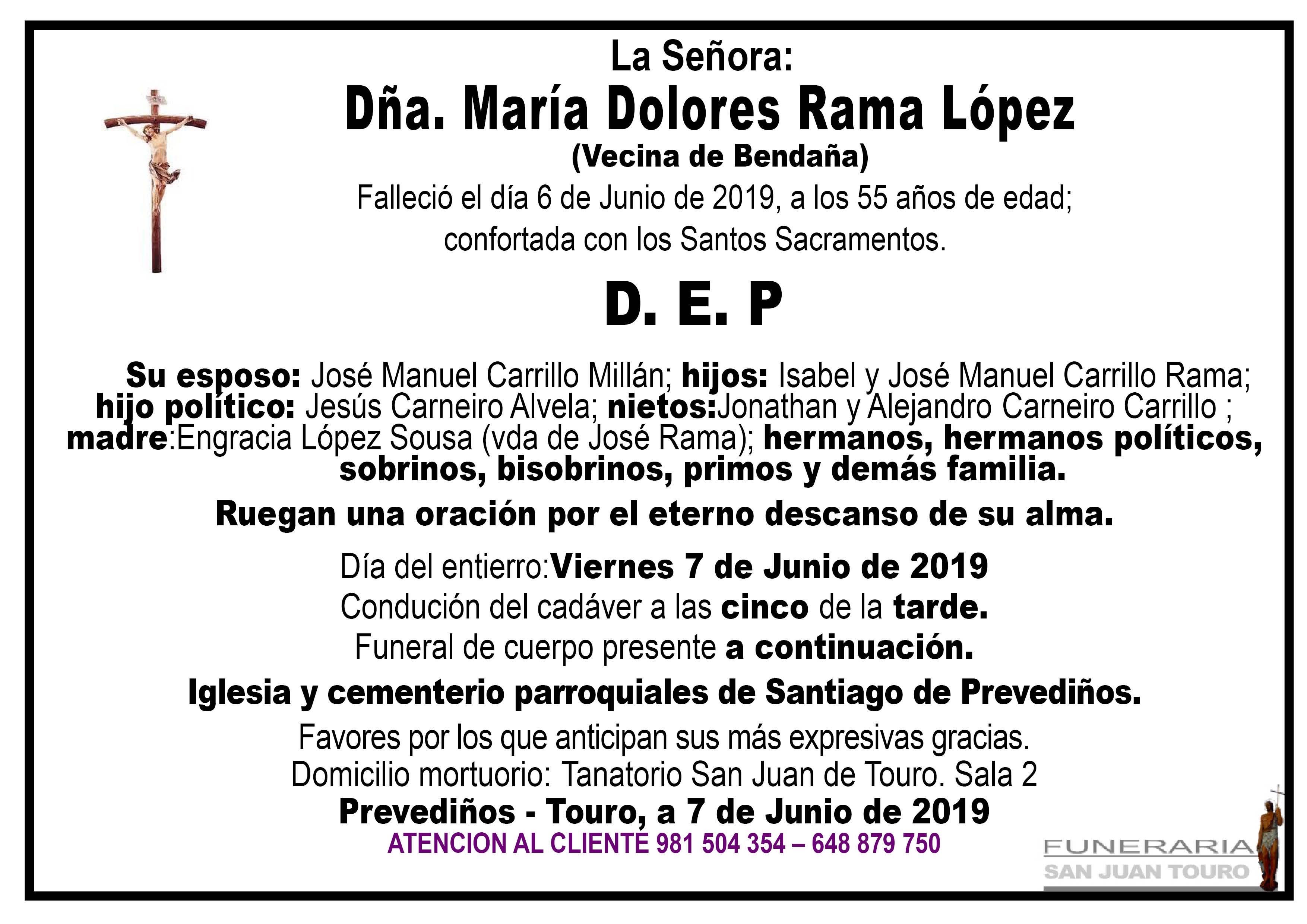 Esquela de SEPELIO DE DOÑA MARÍA DOLORES RAMA LÓPEZ