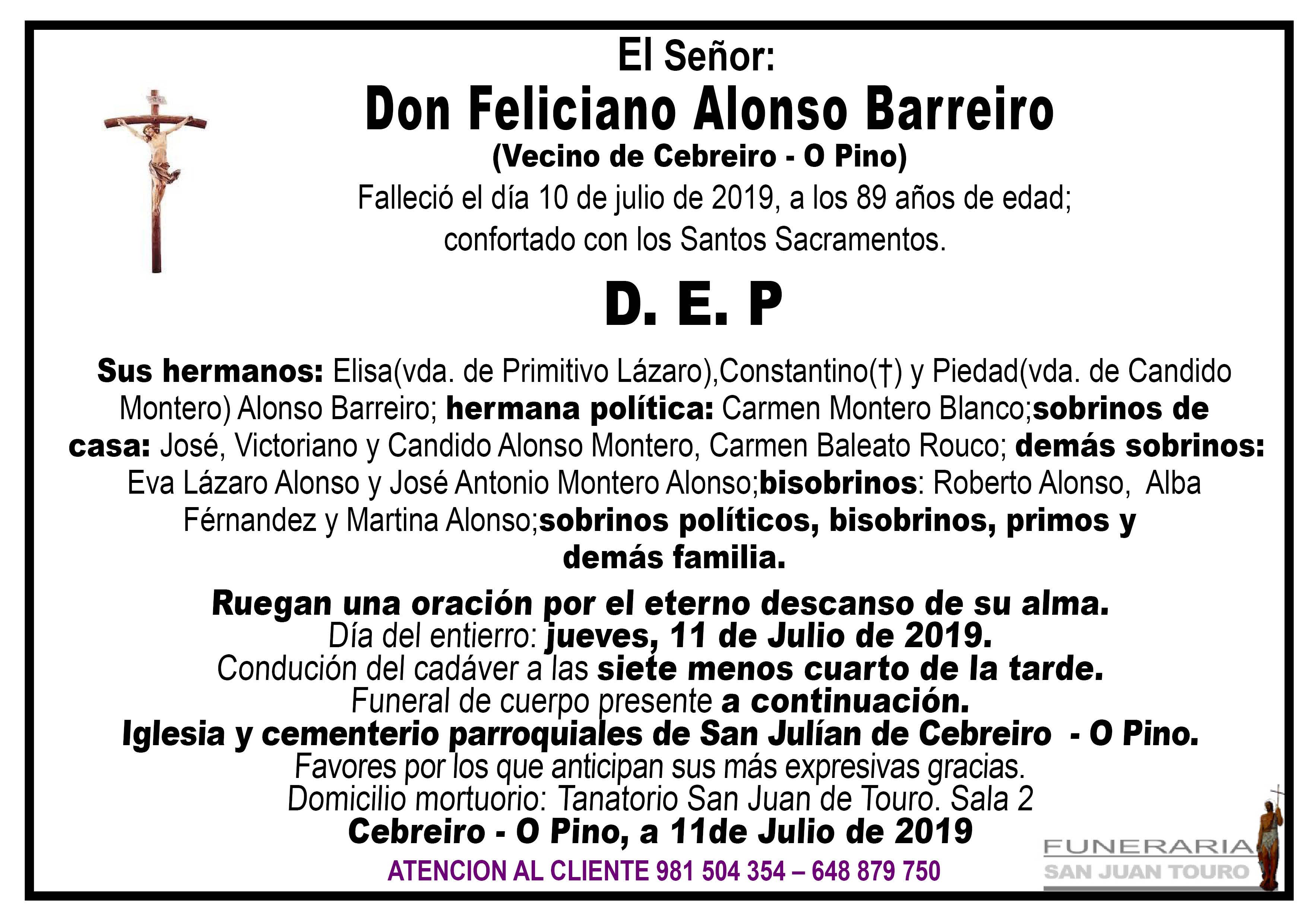 Esquela de SEPELIOP DE DON FELICIANO ALONSO BARREIRO