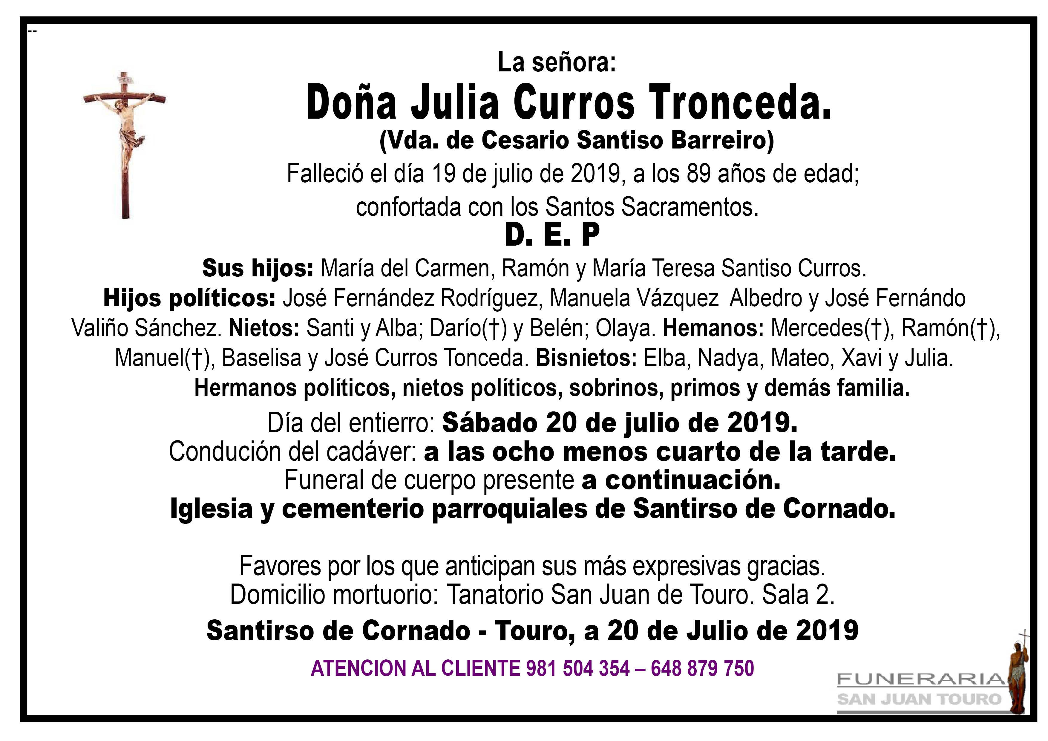 Esquela de SEPELIO DE DOÑA JULIA CURROS TRONCEDA