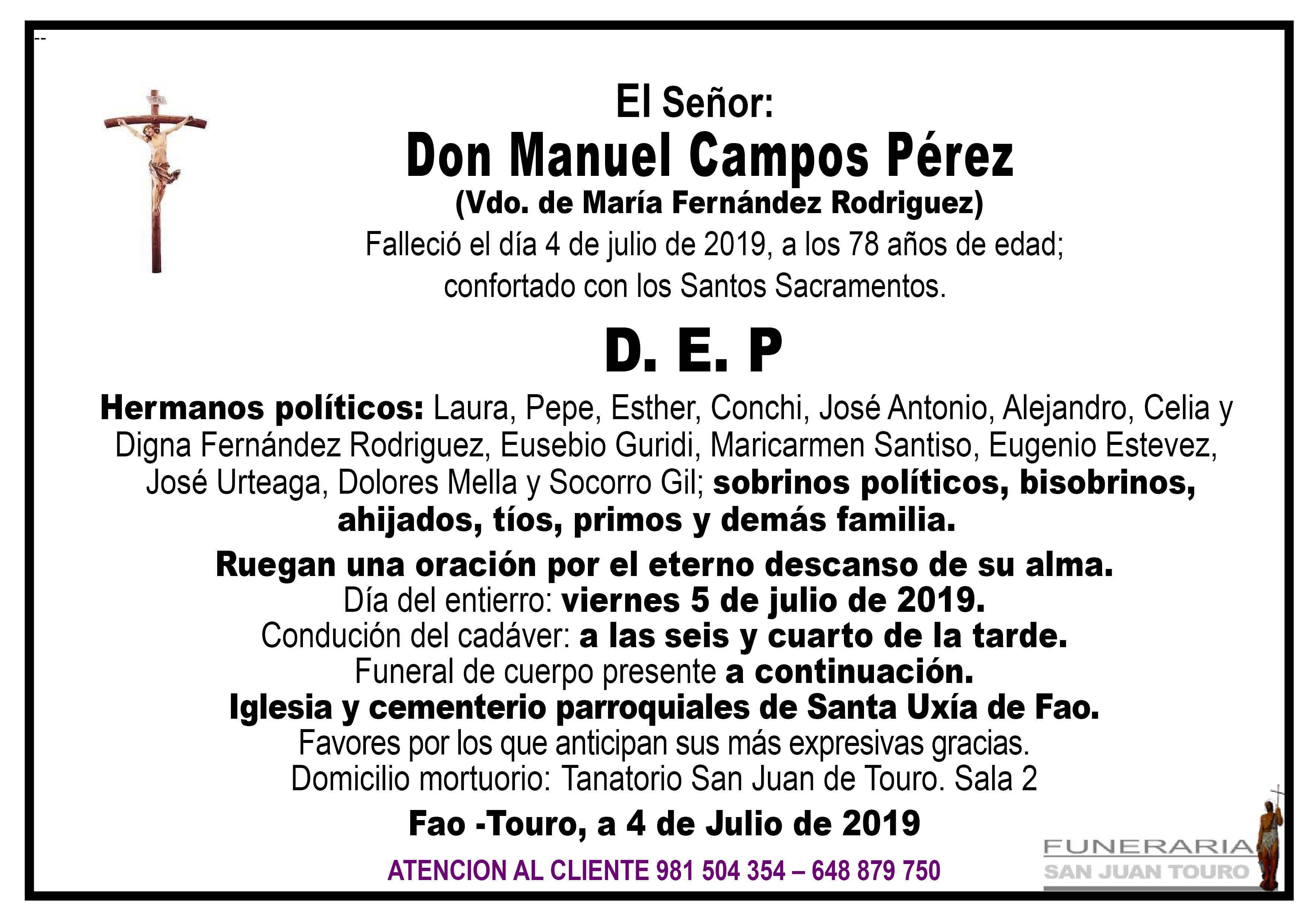 Esquela de SEPELIO DE DON MANUEL CAMPOS PÉREZ