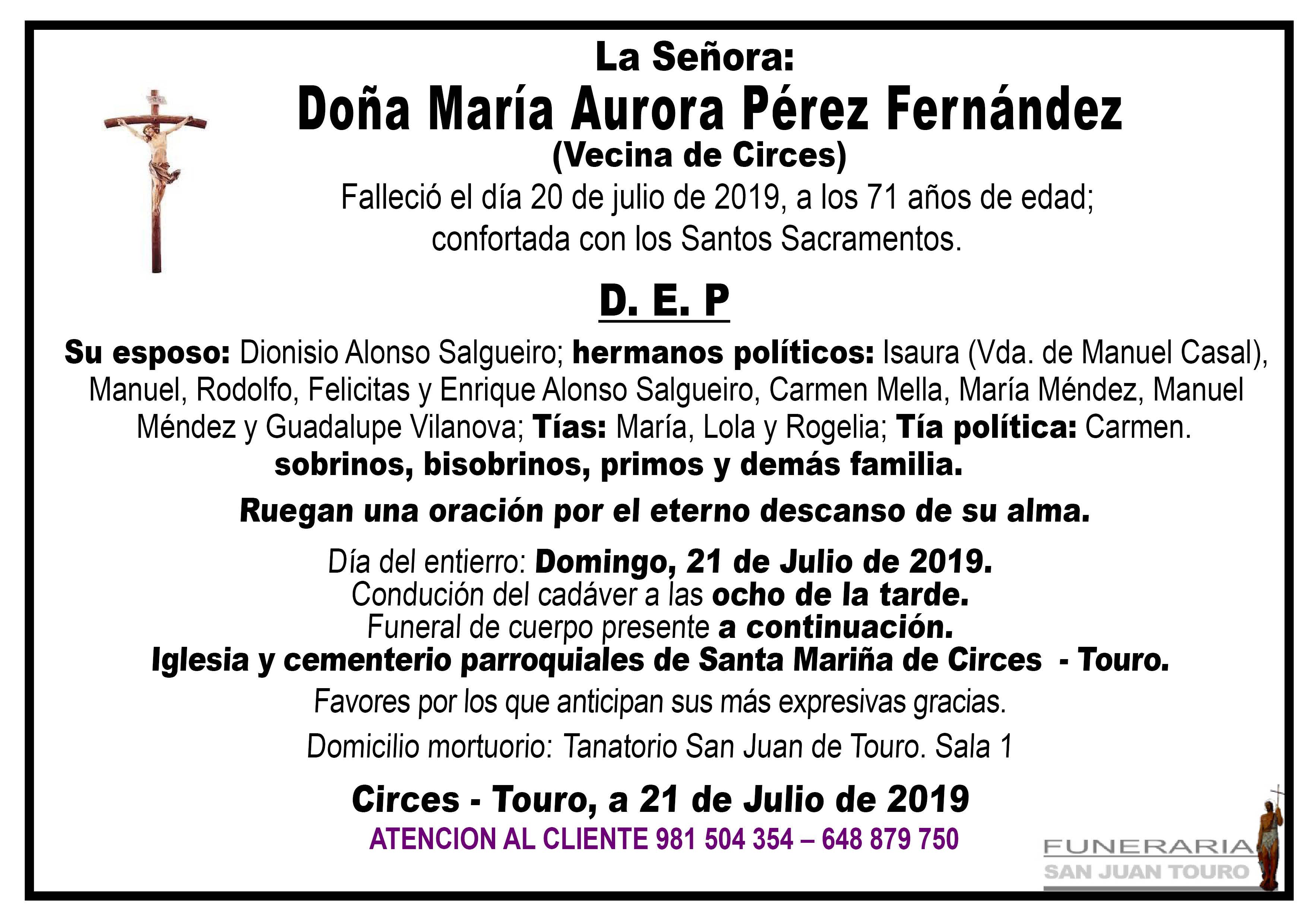 Esquela de SEPELIO DE DOÑA MARÍA AURORA PÉREZ FERNÁNDEZ.