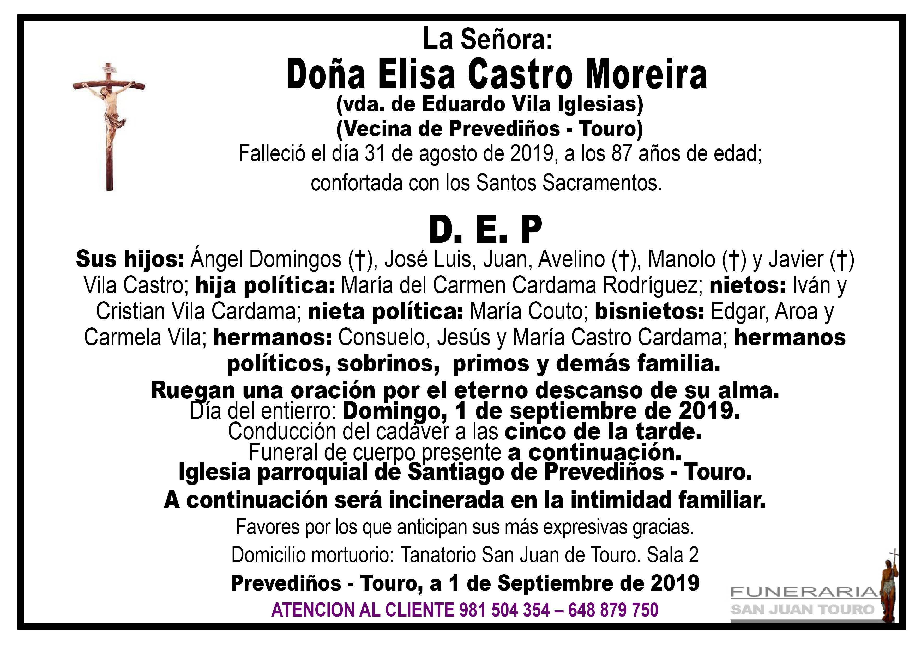 Esquela de SEPELIO DE DOÑA ELISA CASTRO MOREIRA