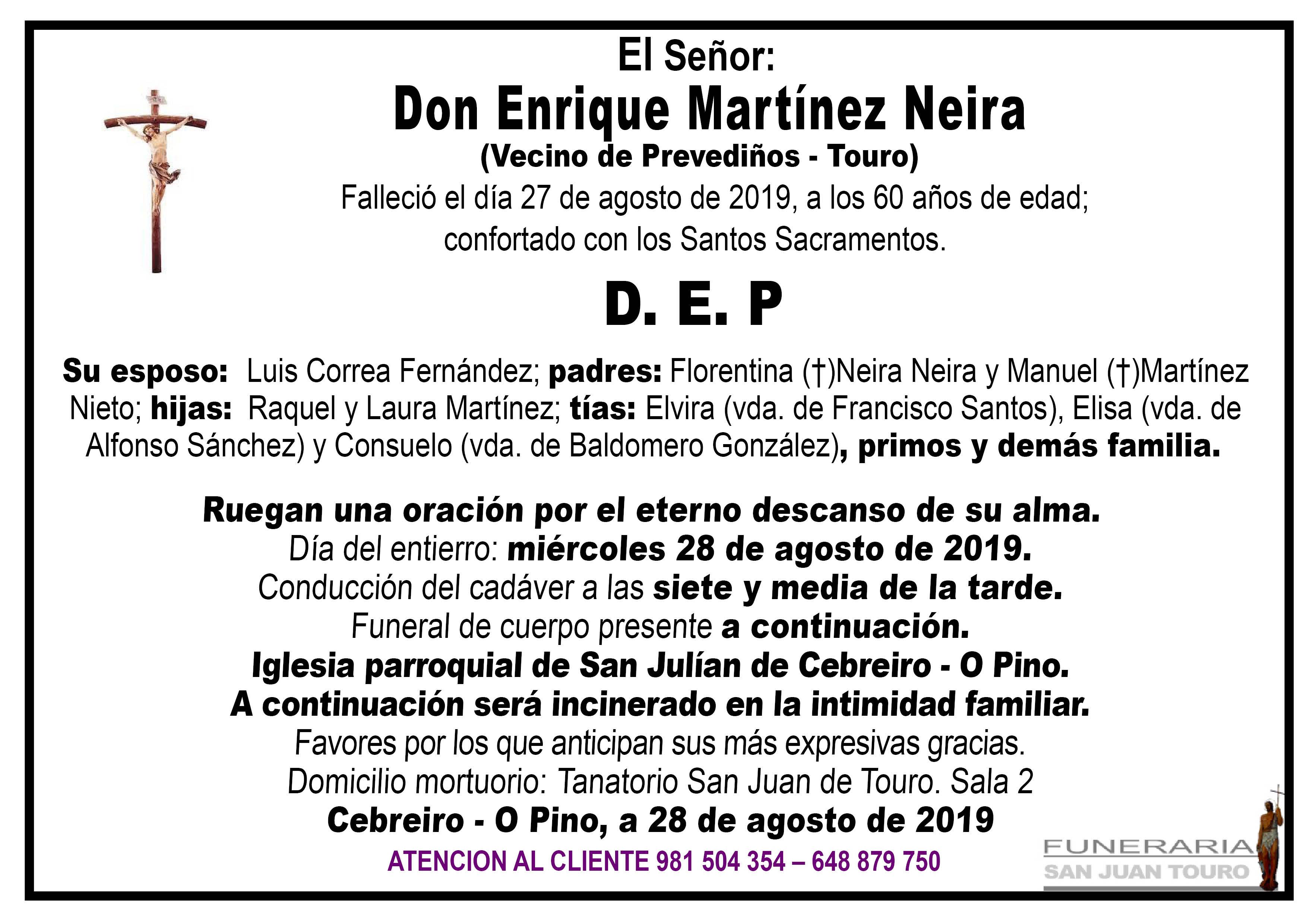 Esquela de SEPELIO DE DON ENRIQUE MARTÍNEZ NEIRA