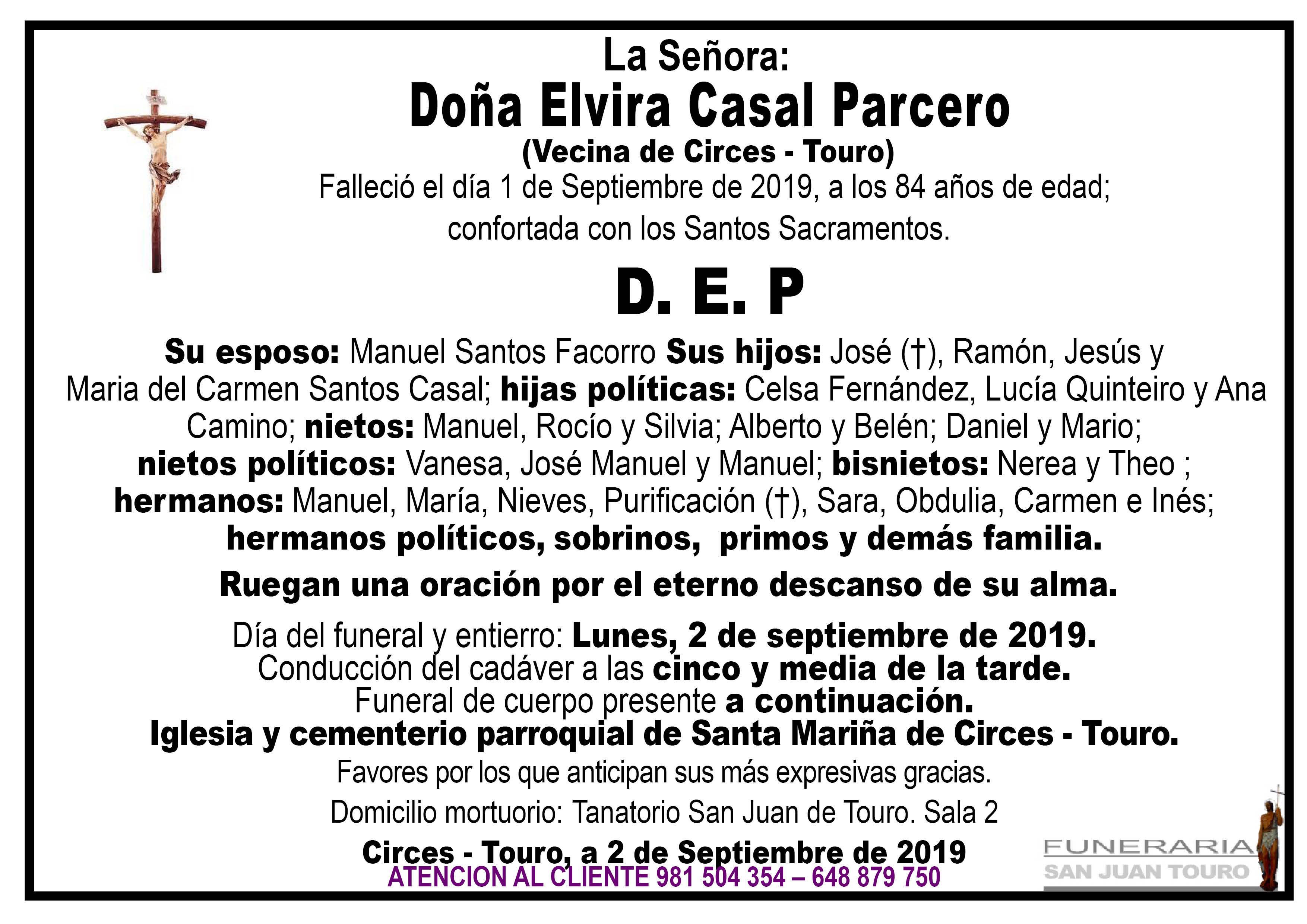 Esquela de DOÑA ELVIRA CASAL PARCERO
