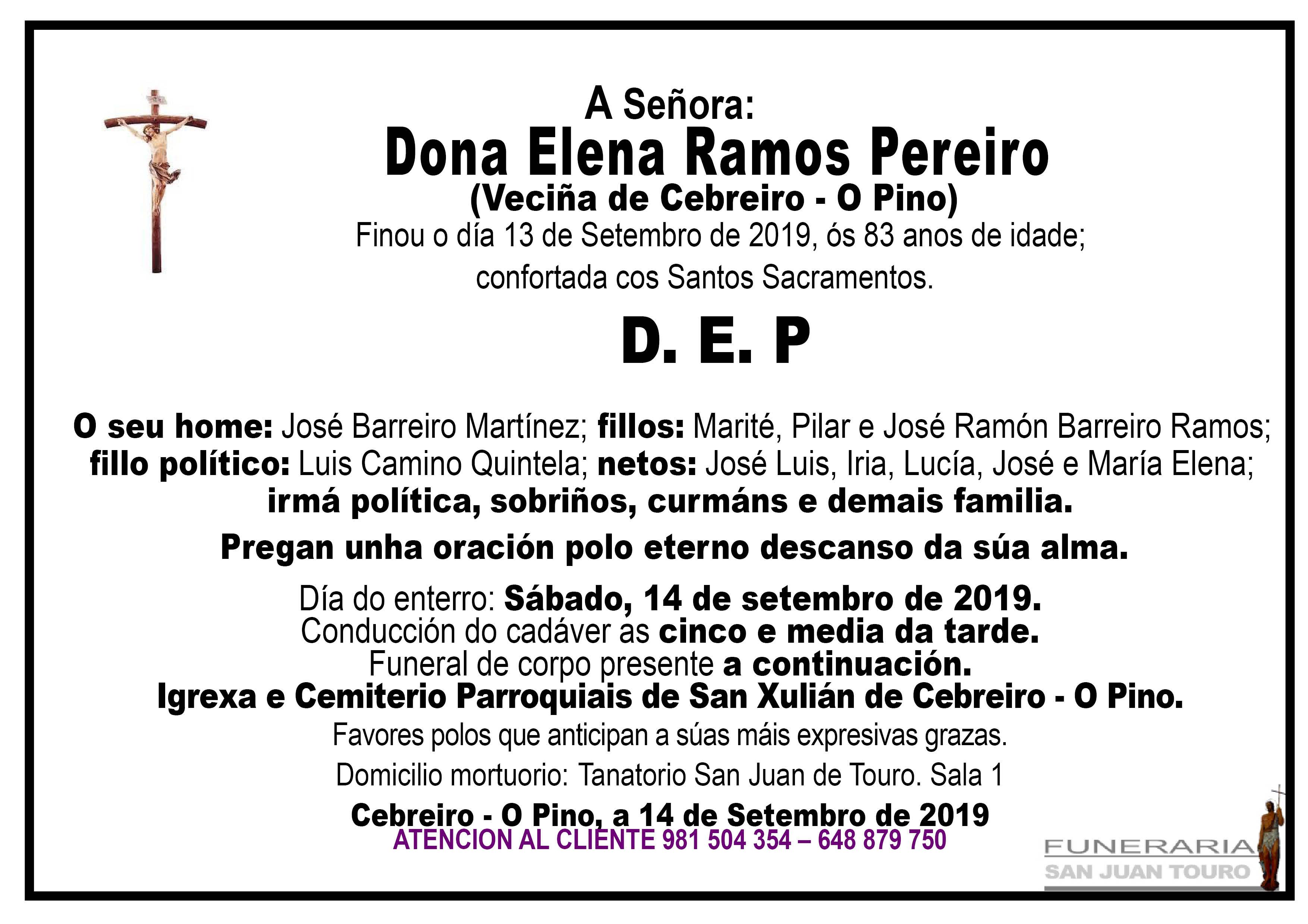 Esquela de SEPELIO DE DONA ELENA RAMOS PEREIRO