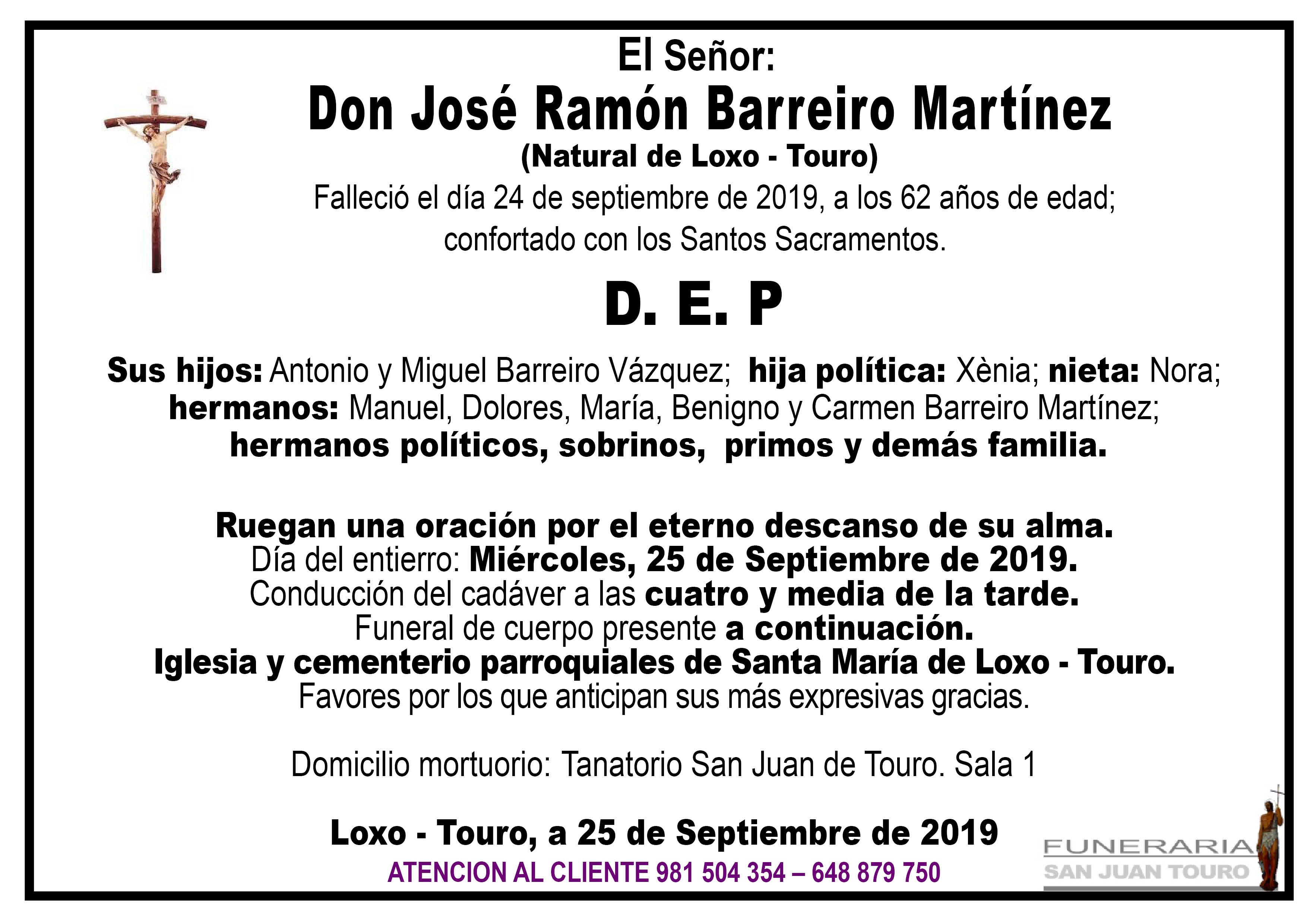 Esquela de SEPELIO DE DON JOSÉ RAMÓN BARREIRO MARTÍNEZ