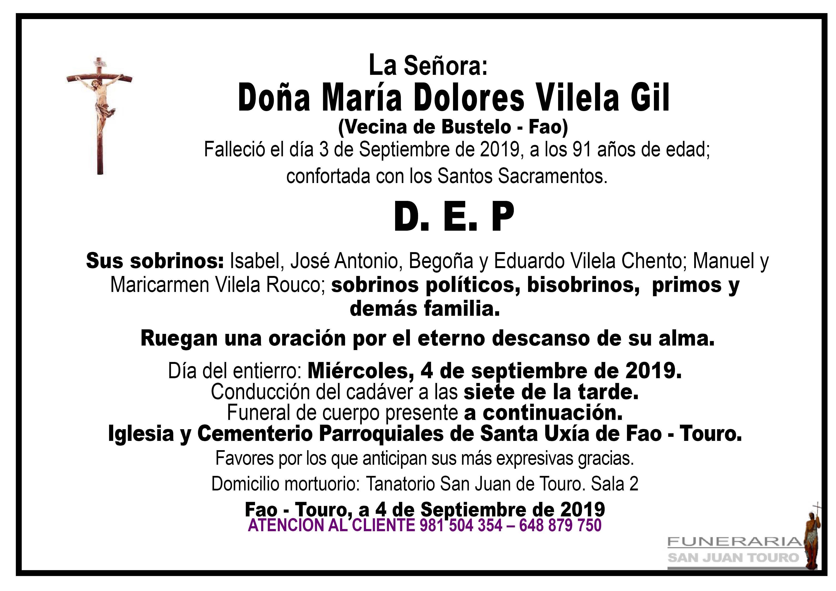 Esquela de SEPELIO DE DOÑA MARÍA DOLORES VILELA GIL
