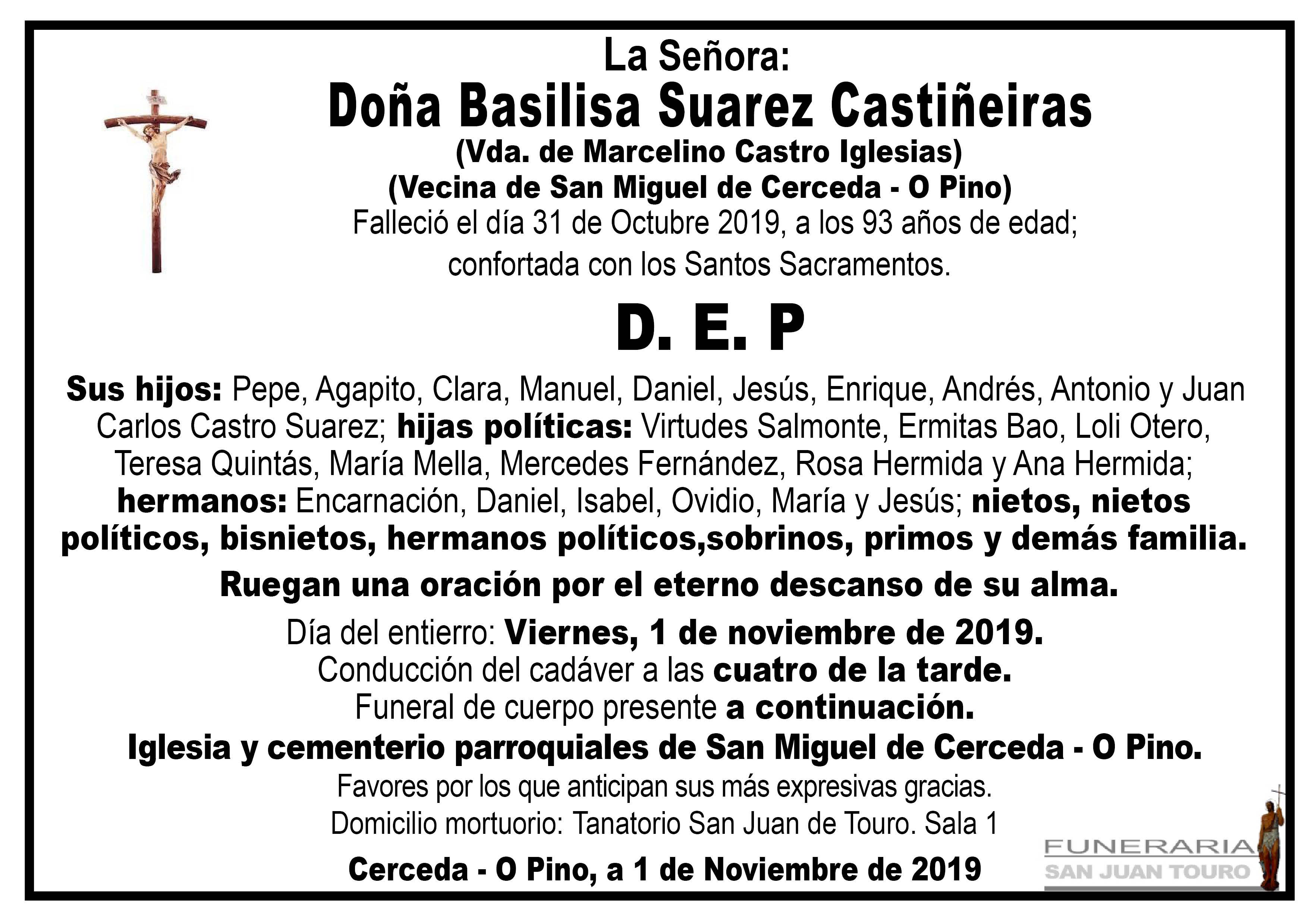Esquela de SEPELIO DE DOÑA BASILISA SUAREZ CASTIÑEIRAS