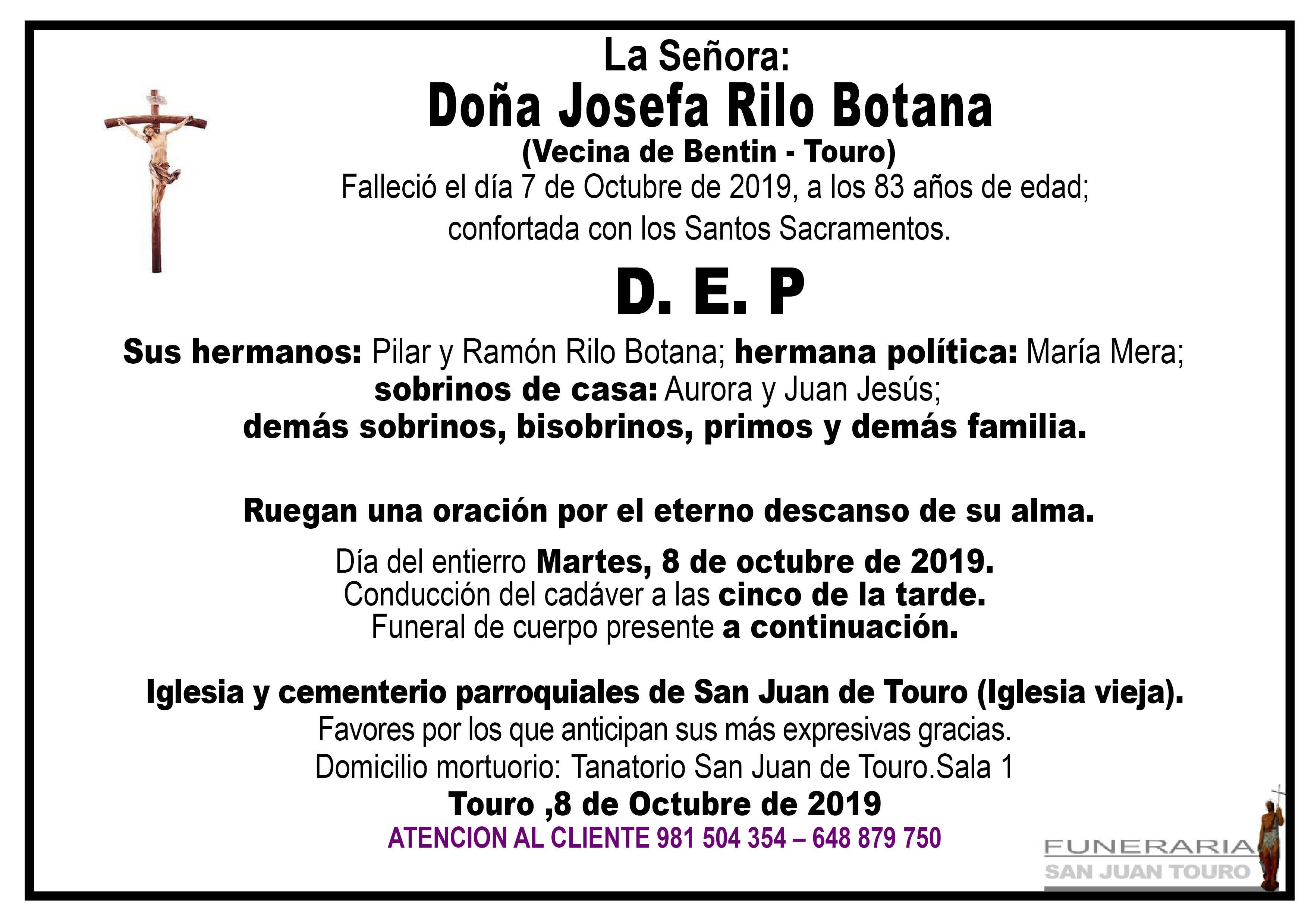 Esquela de SEPELIO DE DOÑA JOSEFA RILO BOTANA