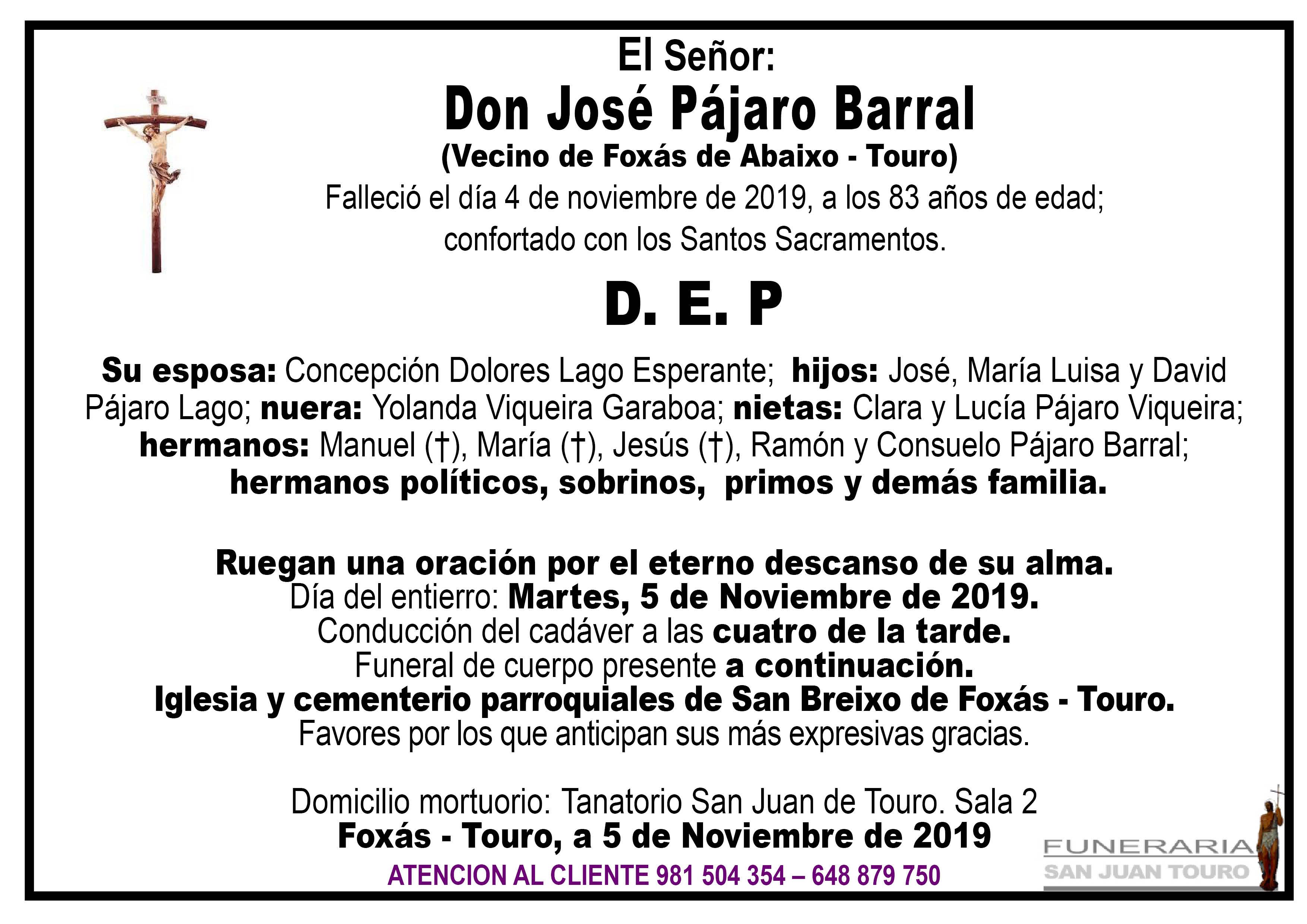 Esquela de SEPELIO DE DON JOSÉ PÁJARO BARRAL