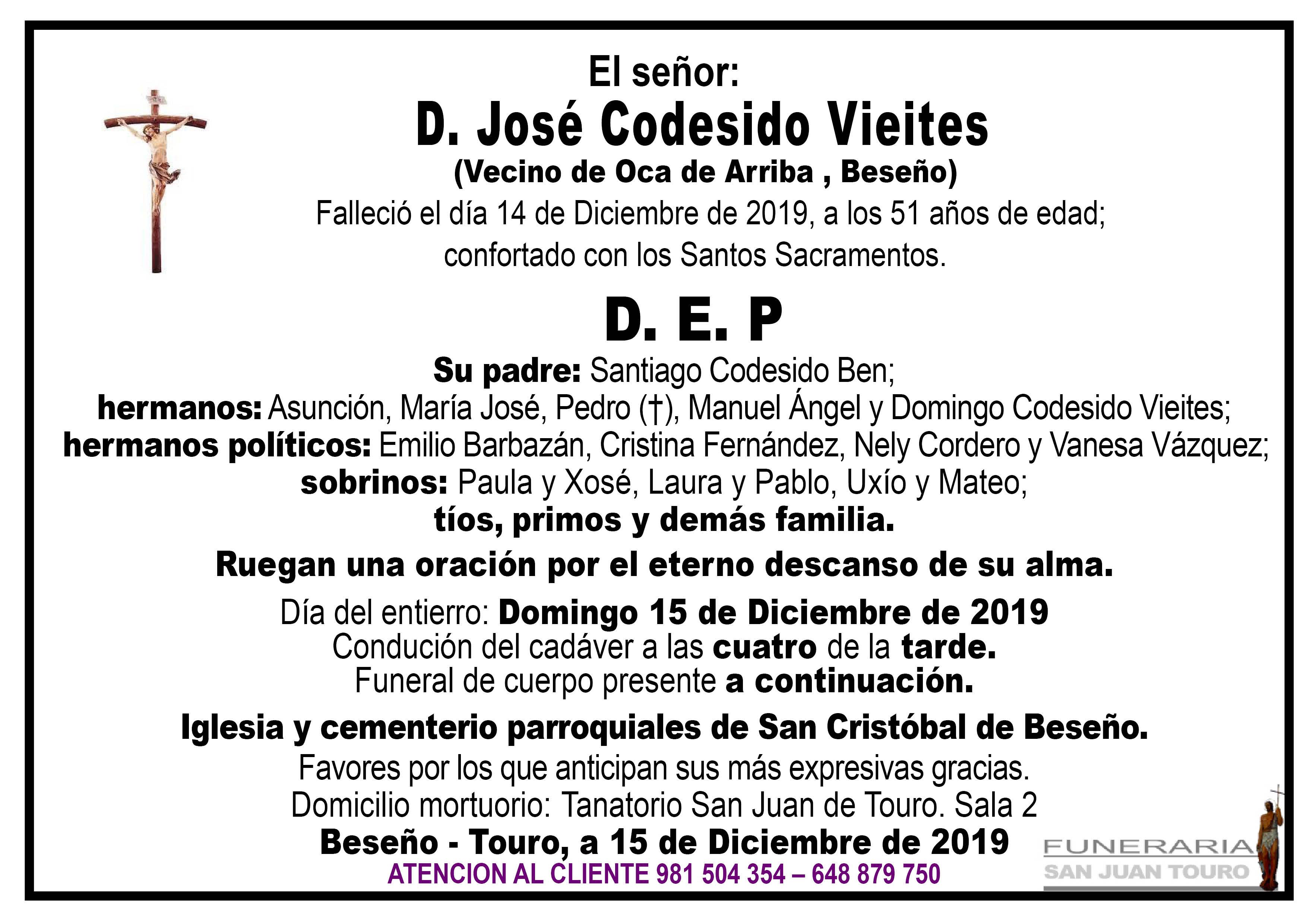Esquela de D. JOSÉ CODESIDO VIEITES