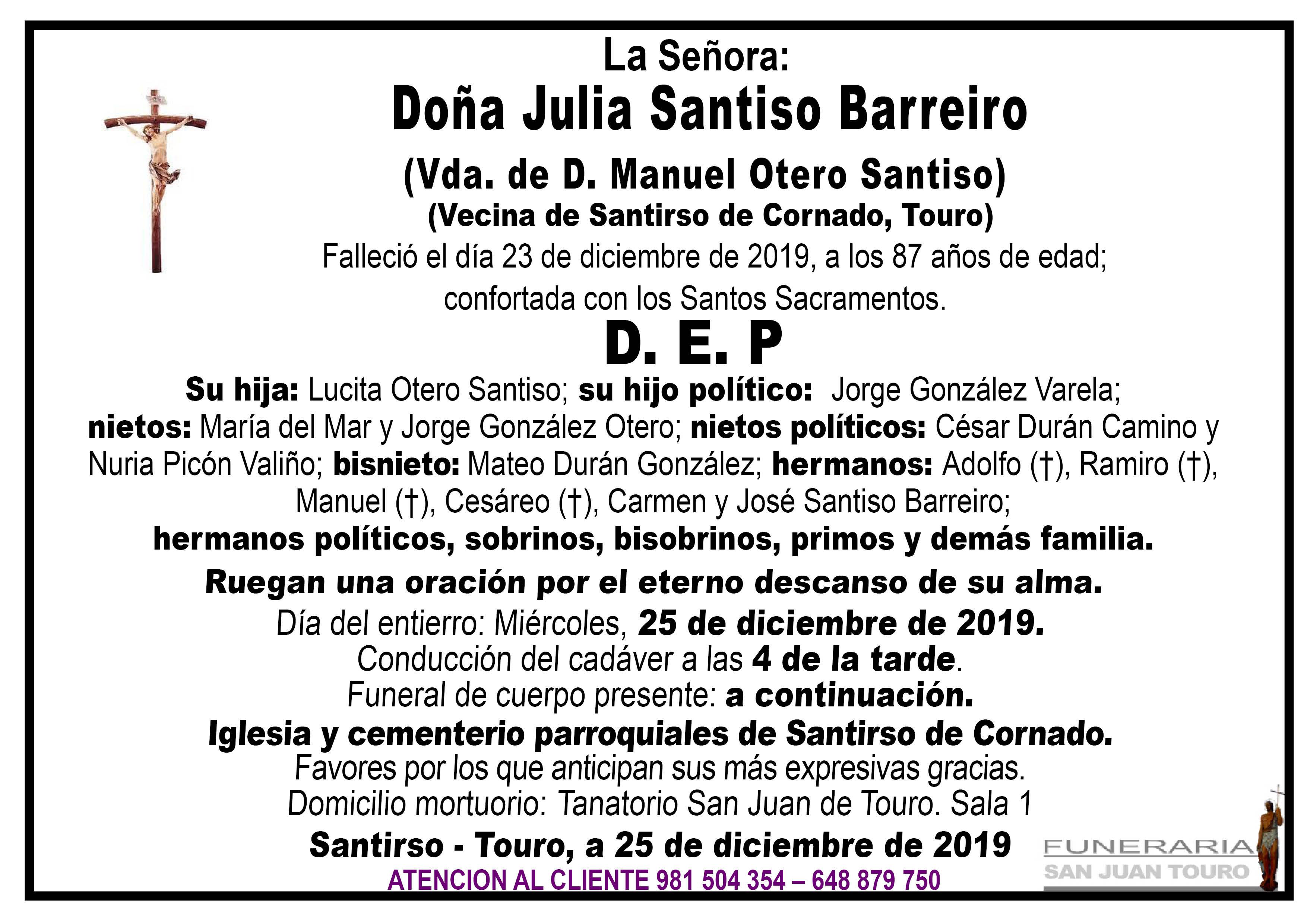 Esquela de SEPELIO DE DOÑA JULIA SANTISO BARREIRO