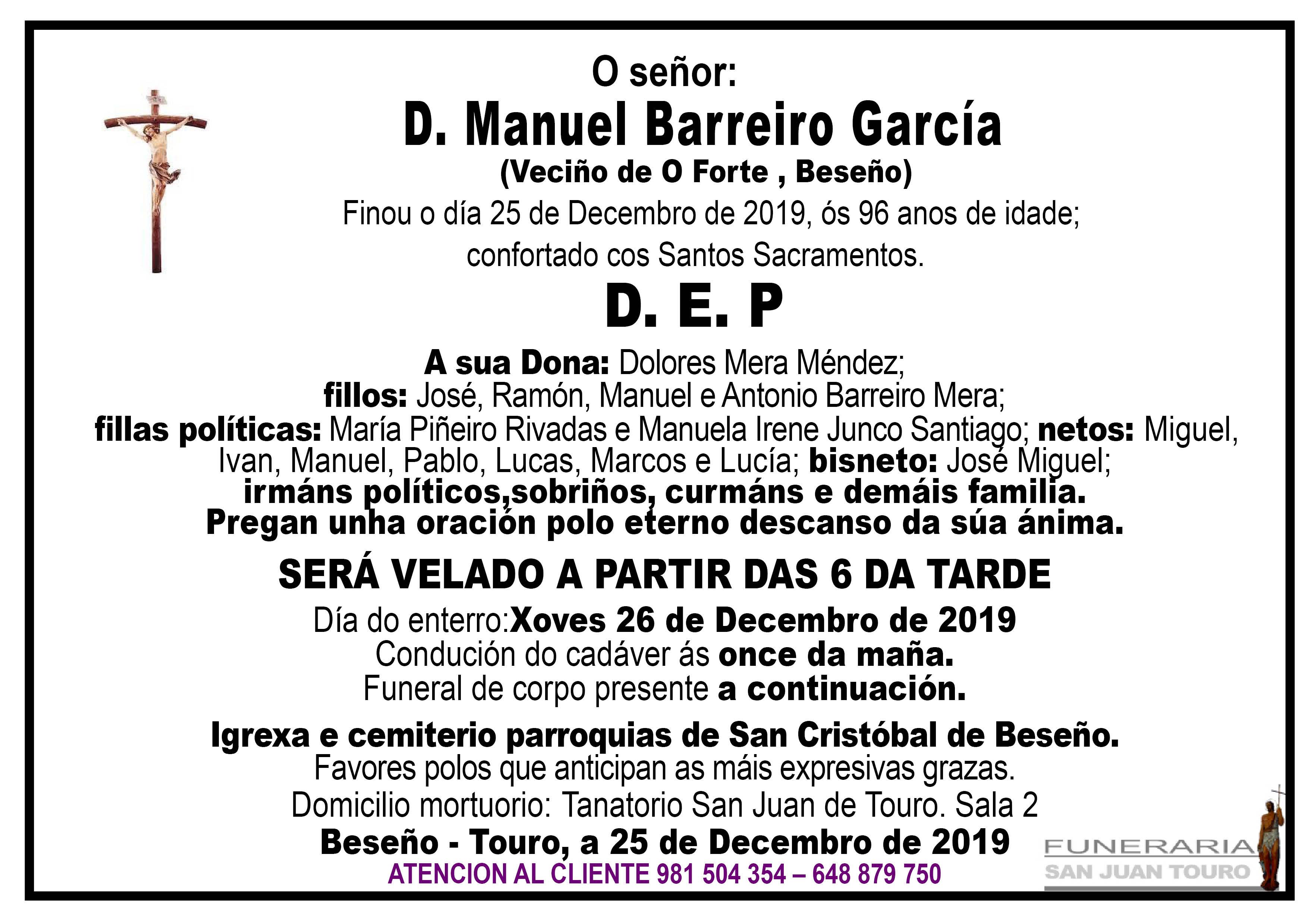 Esquela de SEPELIO DE DON MANUEL BARREIRO GARCÍA