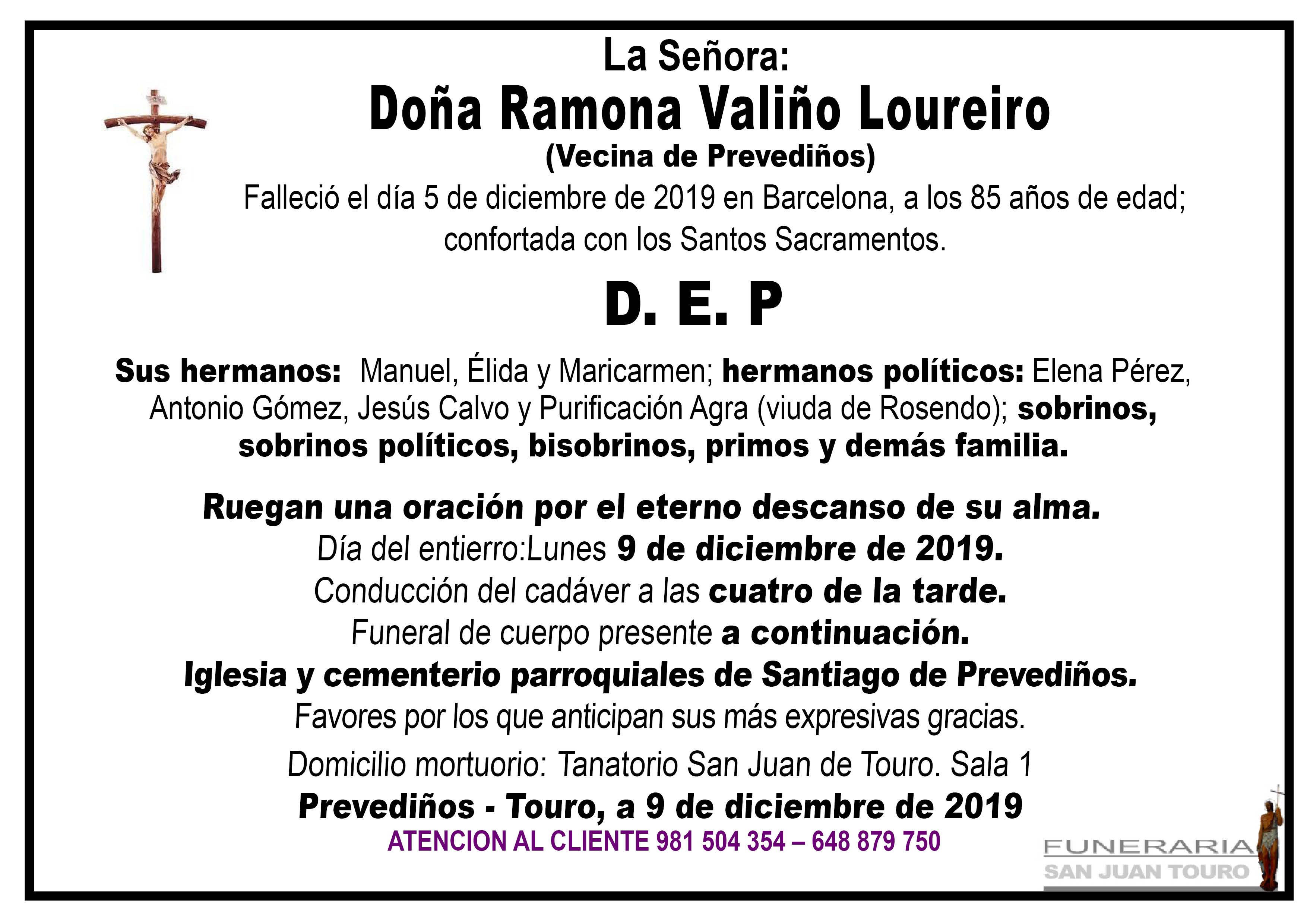 Esquela de SEPELIO RAMONA VALIÑO LOUREIRO