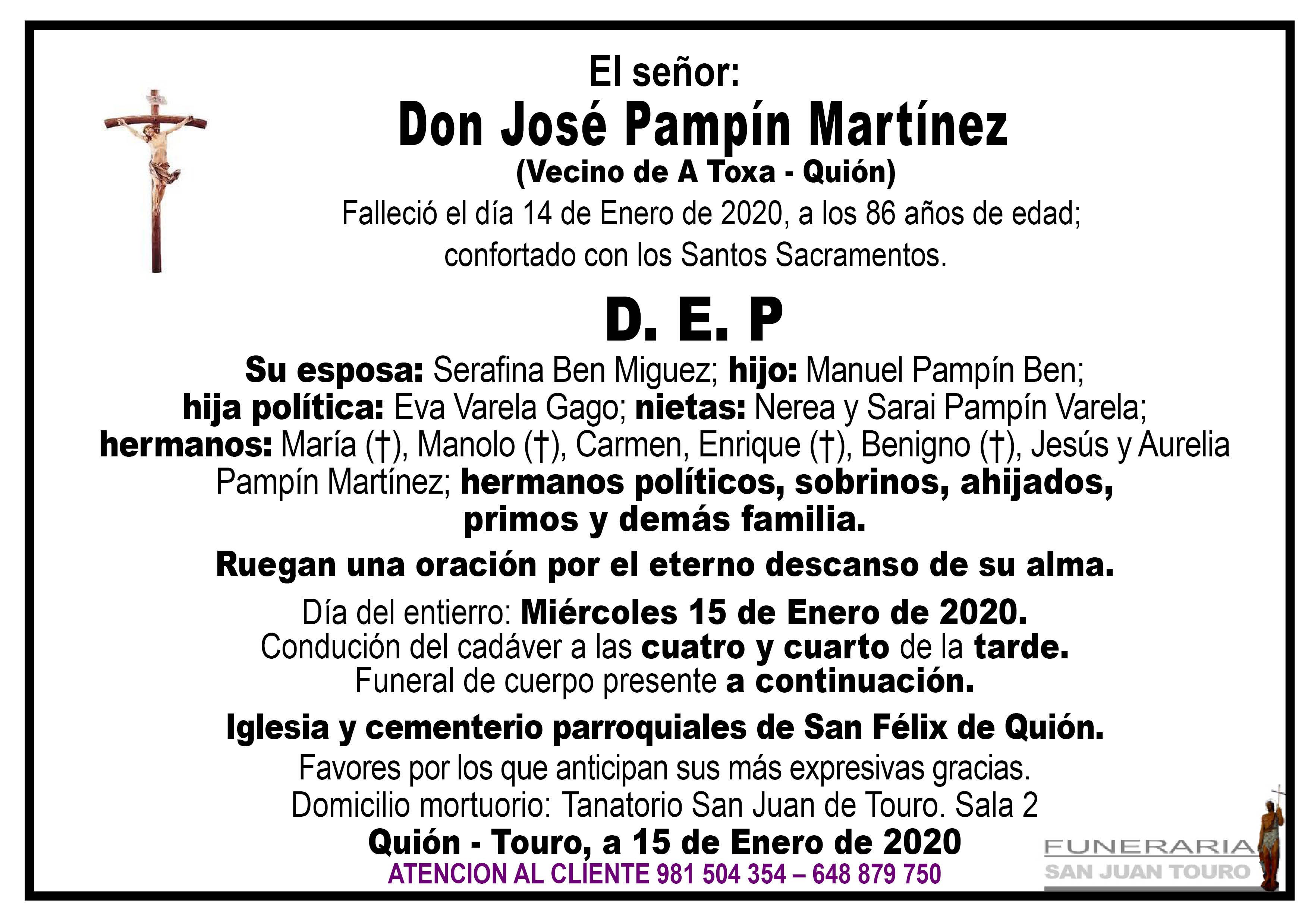 Esquela de SEPELIO DE DON JOSÉ PAMPÍN MARTÍNEZ
