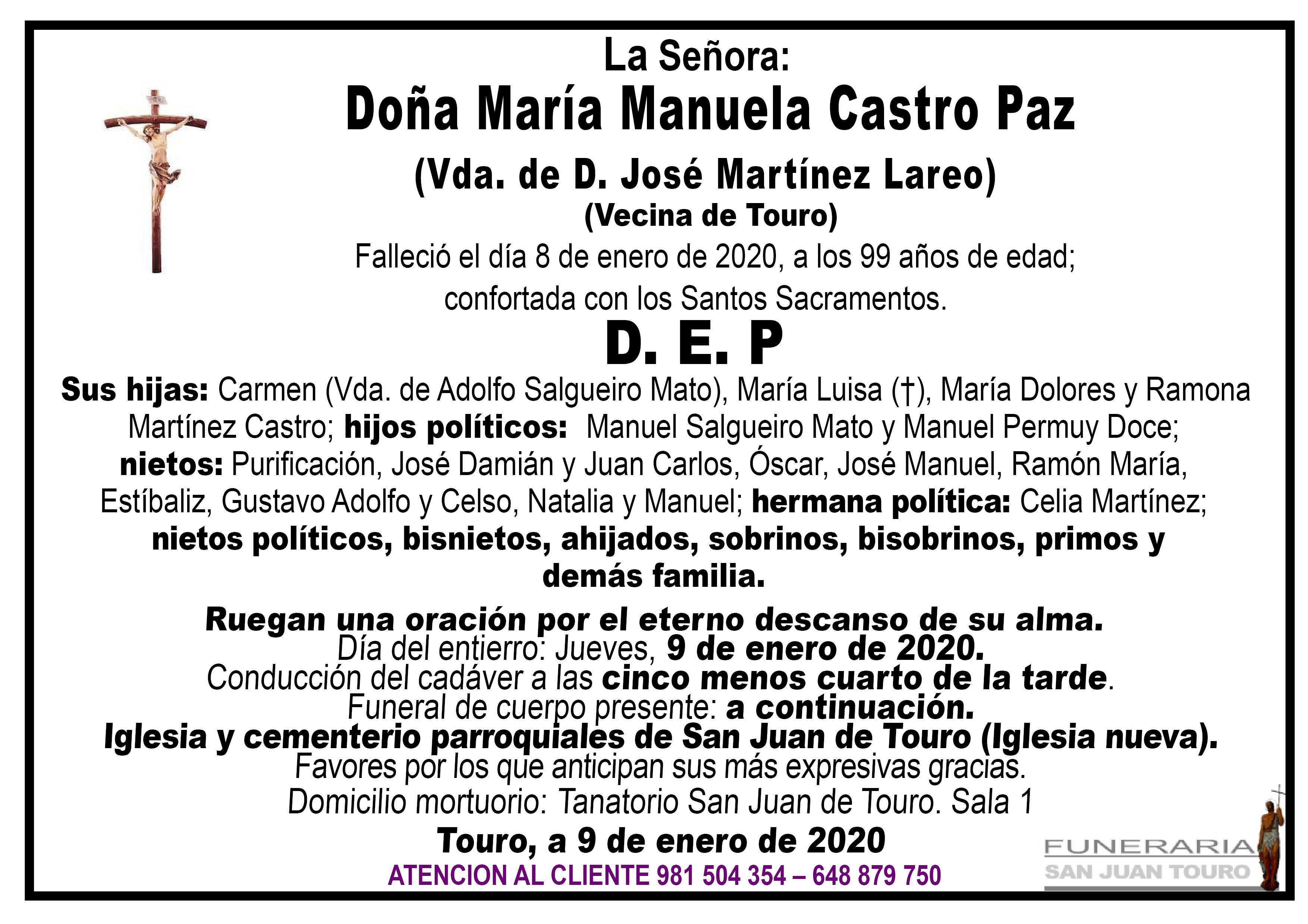 Esquela de SEPELIO DE DOÑA MARÍA MANUELA CASTRO PAZ
