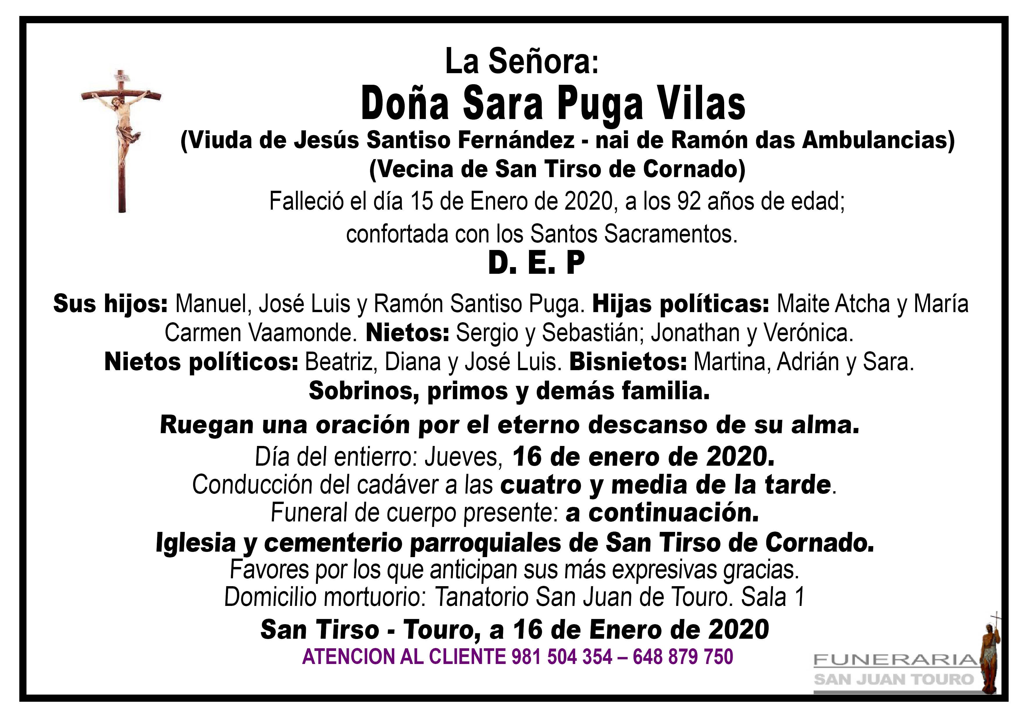 Esquela de SEPELIO DE DOÑA SARA PUGA VILAS