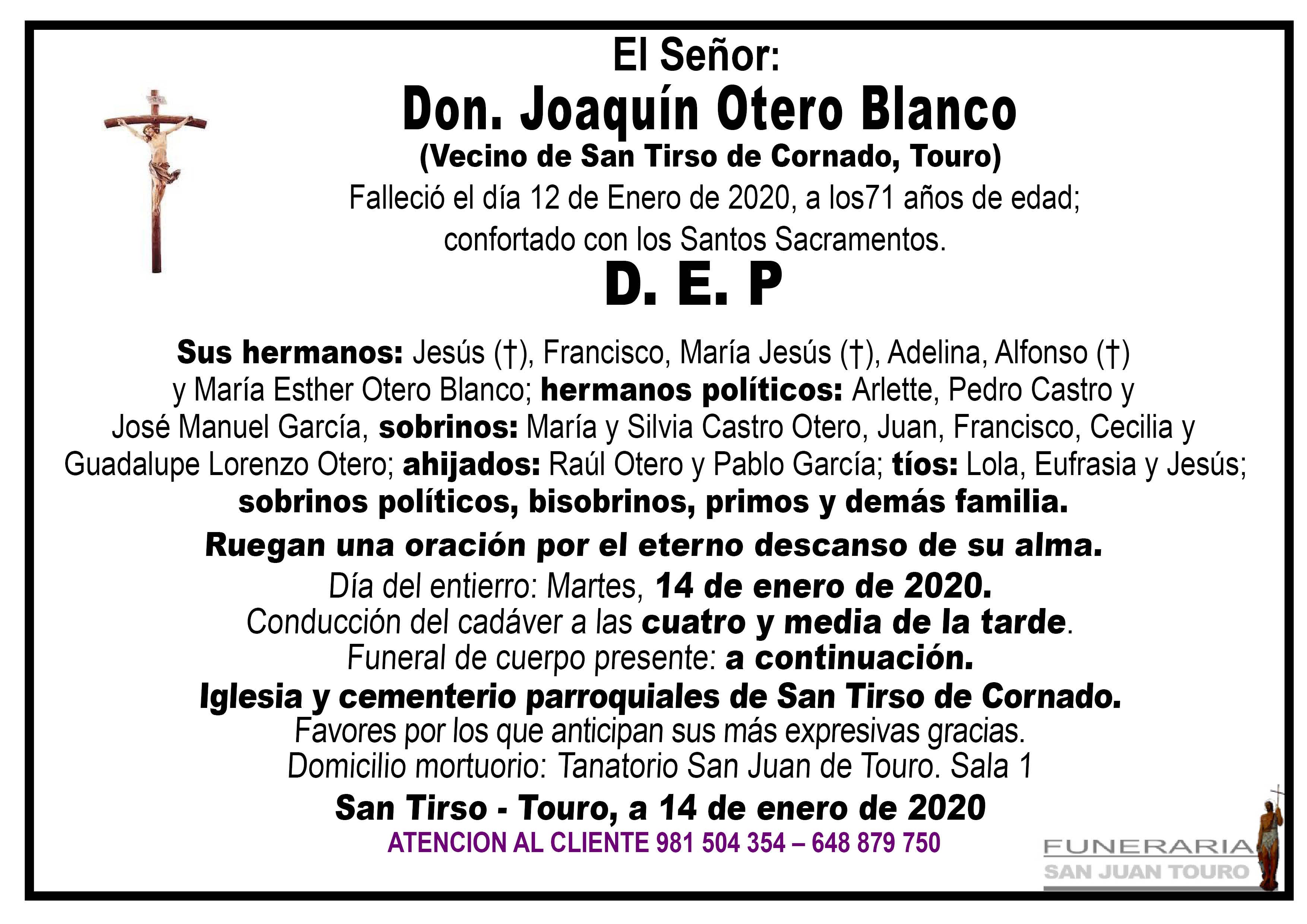 Esquela de SEPELIO DE DON JOAQUIN OTERO BLANCO