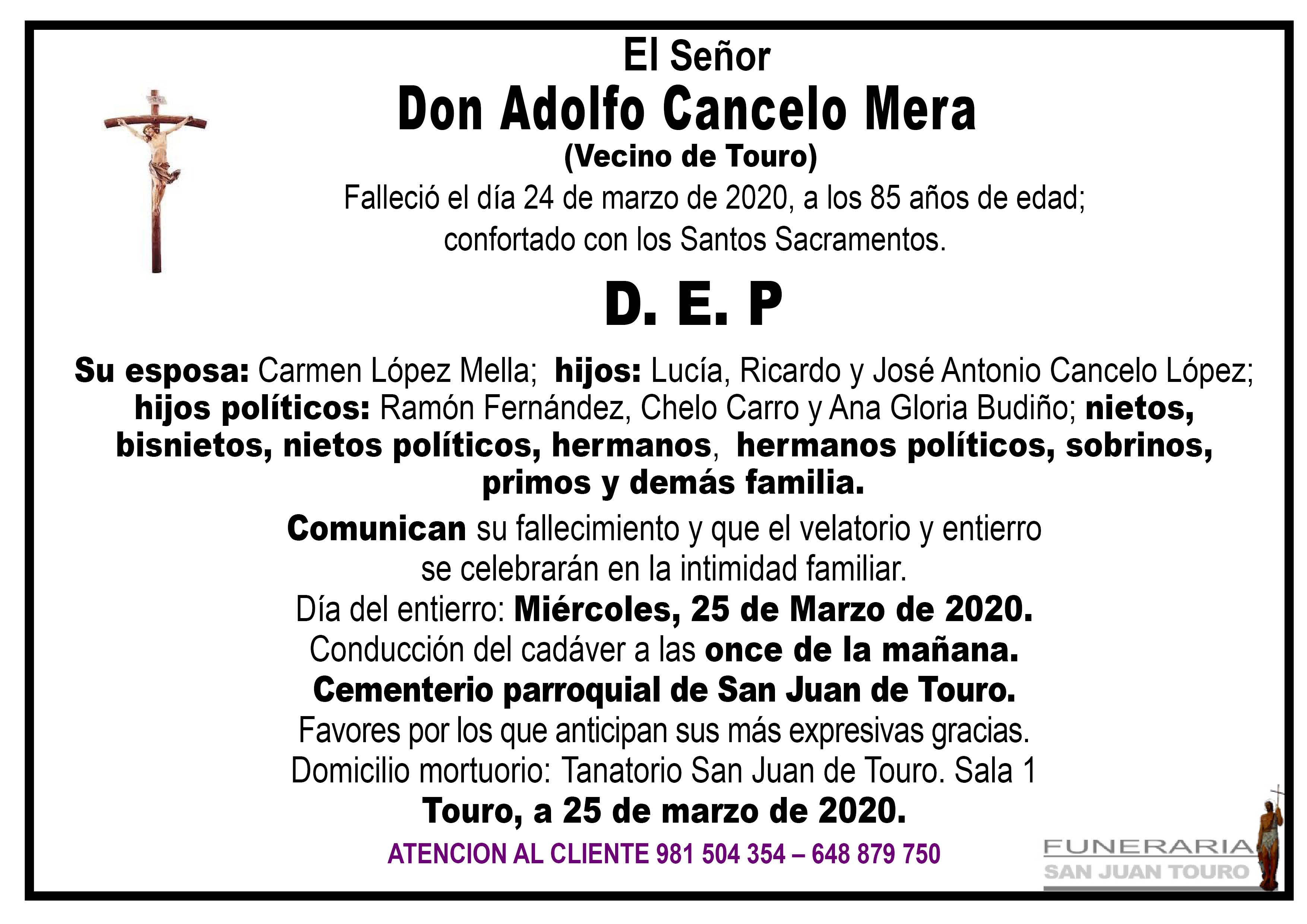 Esquela de SEPELIO DE DON ADOLFO CANCELO MERA