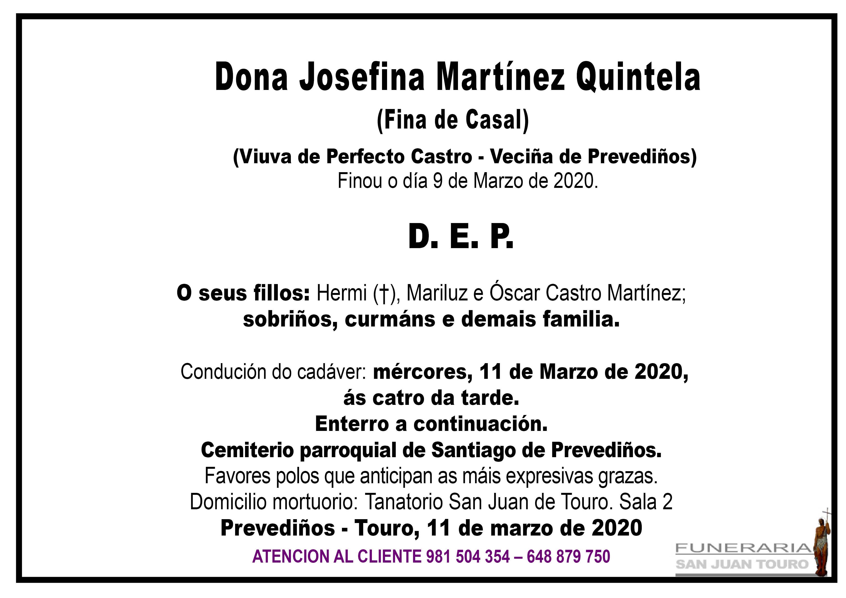 Esquela de SEPELIO DE DONA JOSEFINA MARTÍNEZ QUINTELA