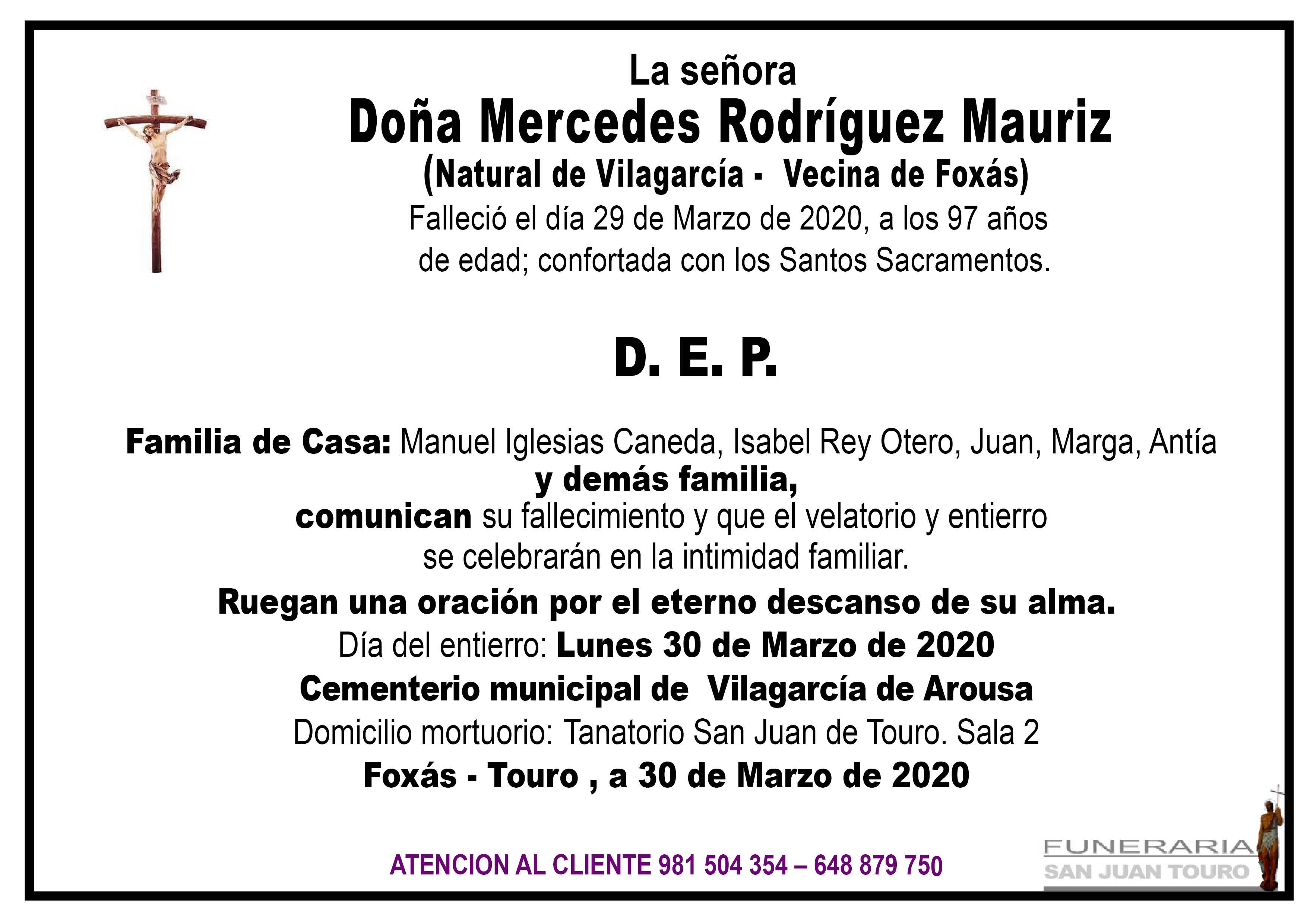 Esquela de SEPELIO DE DOÑA MERCEDES RODRIGUEZ MAURIZ