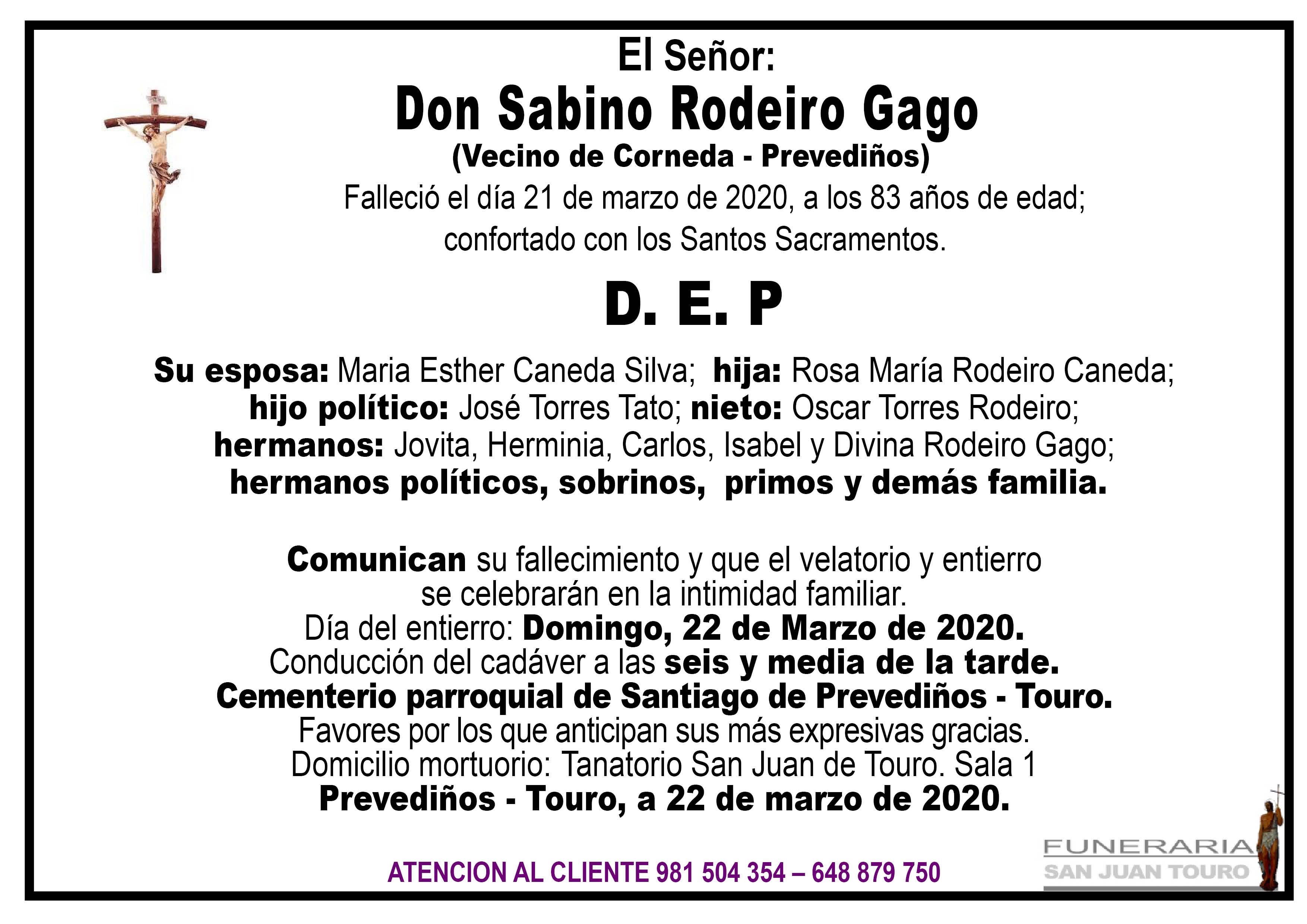 Esquela de SEPELIO DE DON SABINO RODEIRO GAGO