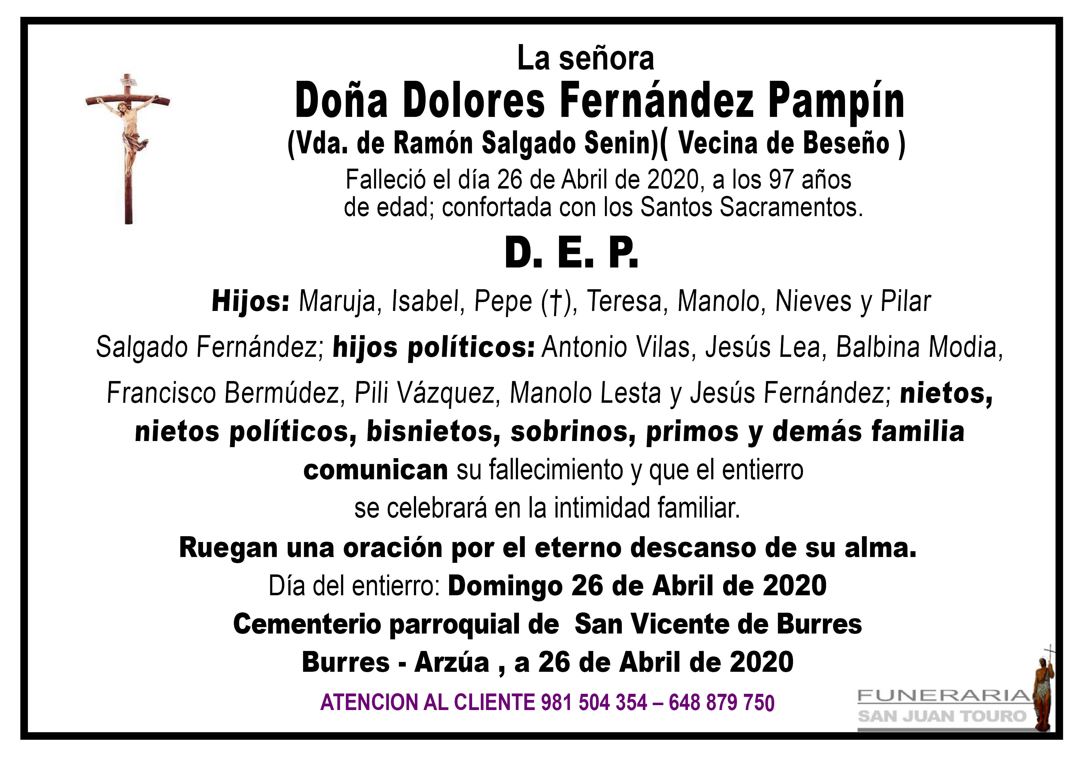 Esquela de SEPELIO DE DOÑA DOLORES FERNÁNDEZ PAMPÍN
