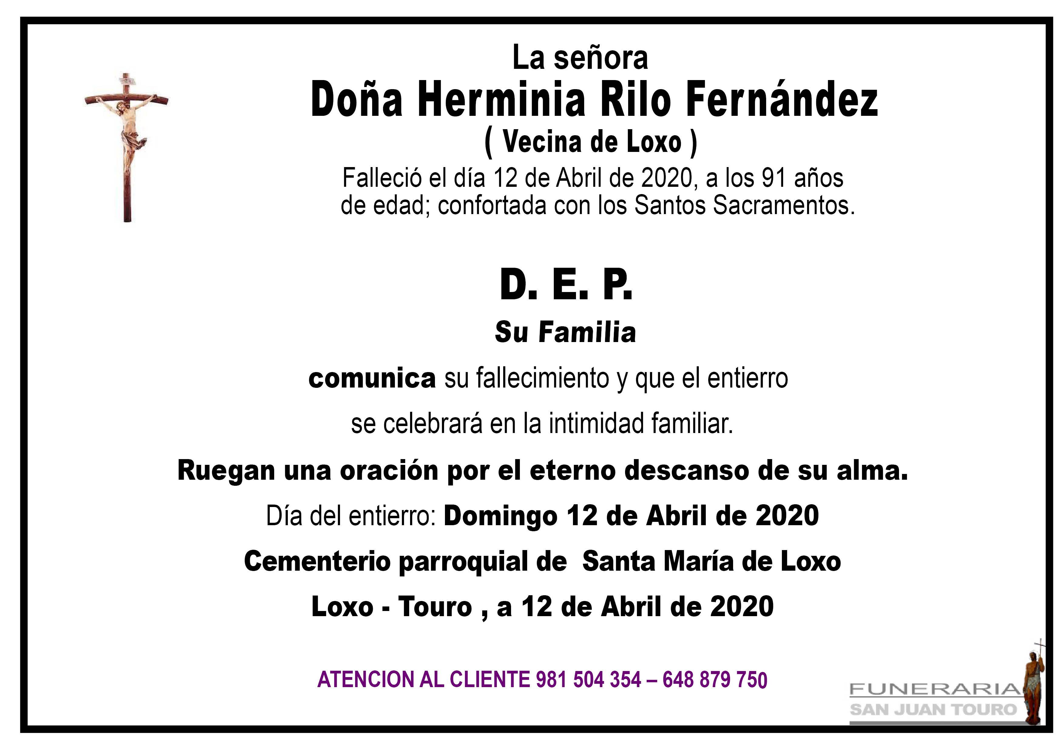 Esquela de SEPELIO DE DOÑA HERMINIA RILO FRENÁNDEZ