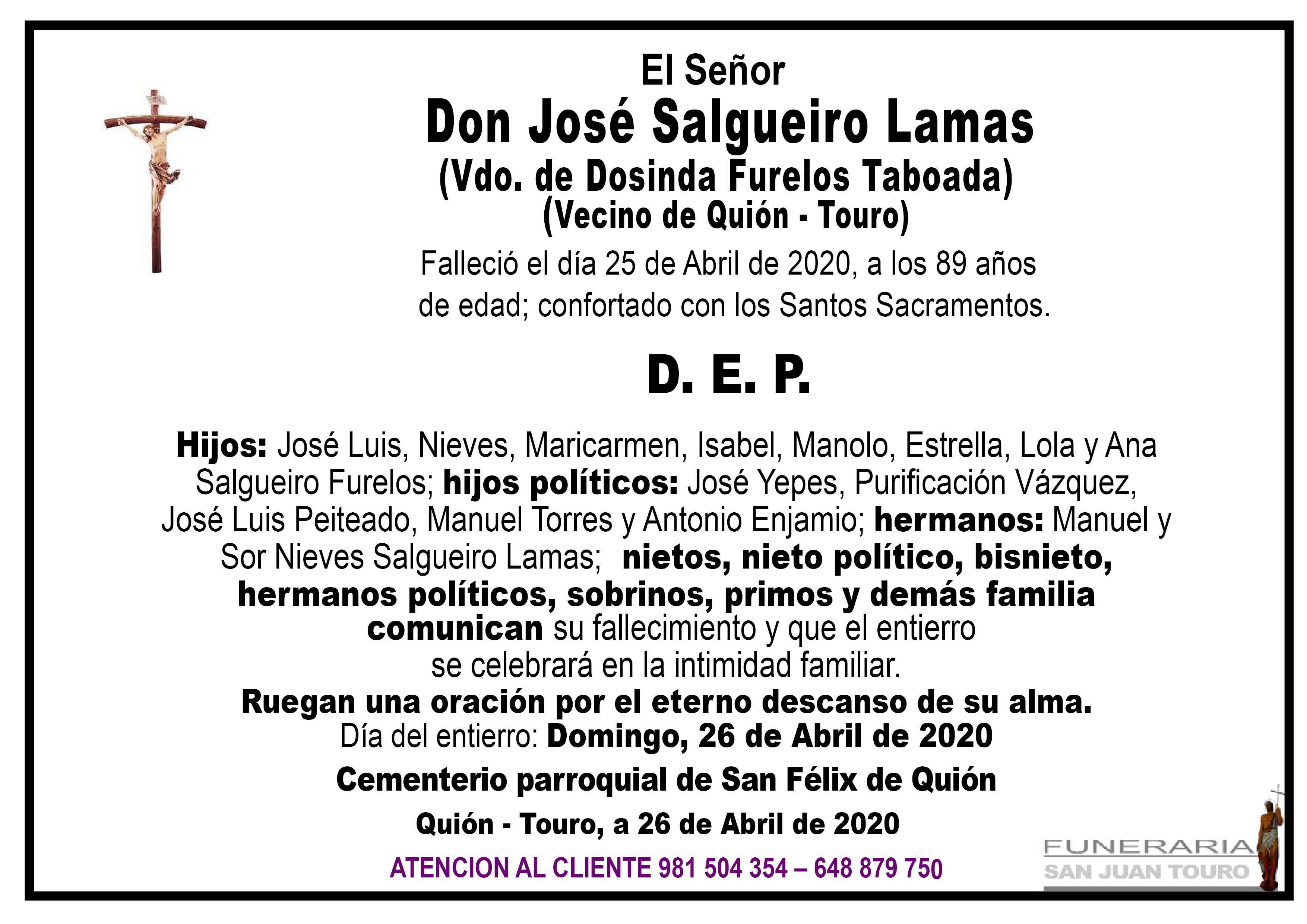 Esquela de SEPELIO DE DON JOSE SALGUEIRO LAMAS