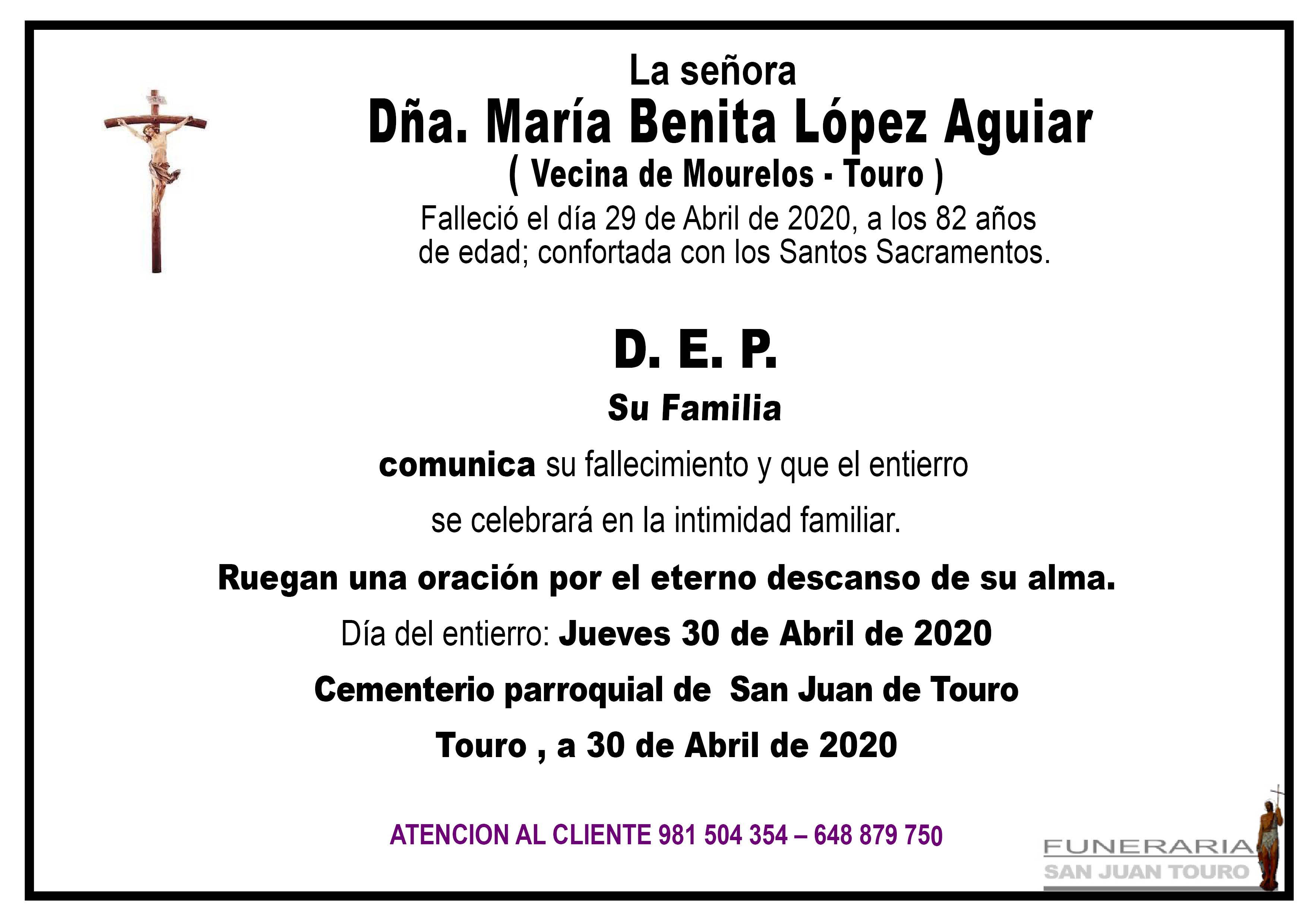 Esquela de SEPELIO DE DOÑA MARIA BENITA LOPEZ AGUIAR