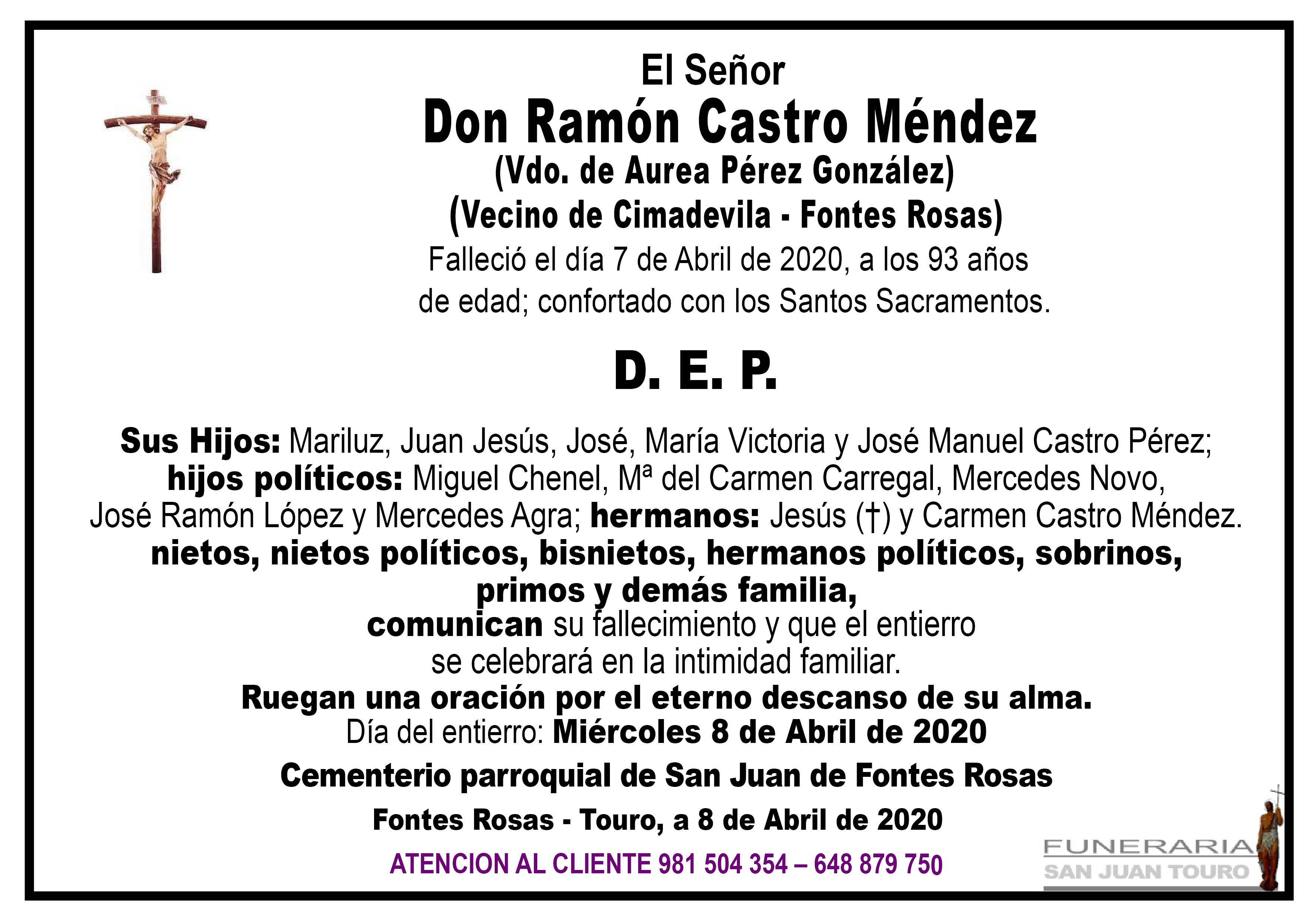 Esquela de SEPELIO DE DON RAMÓN CASTRO MÉNDEZ