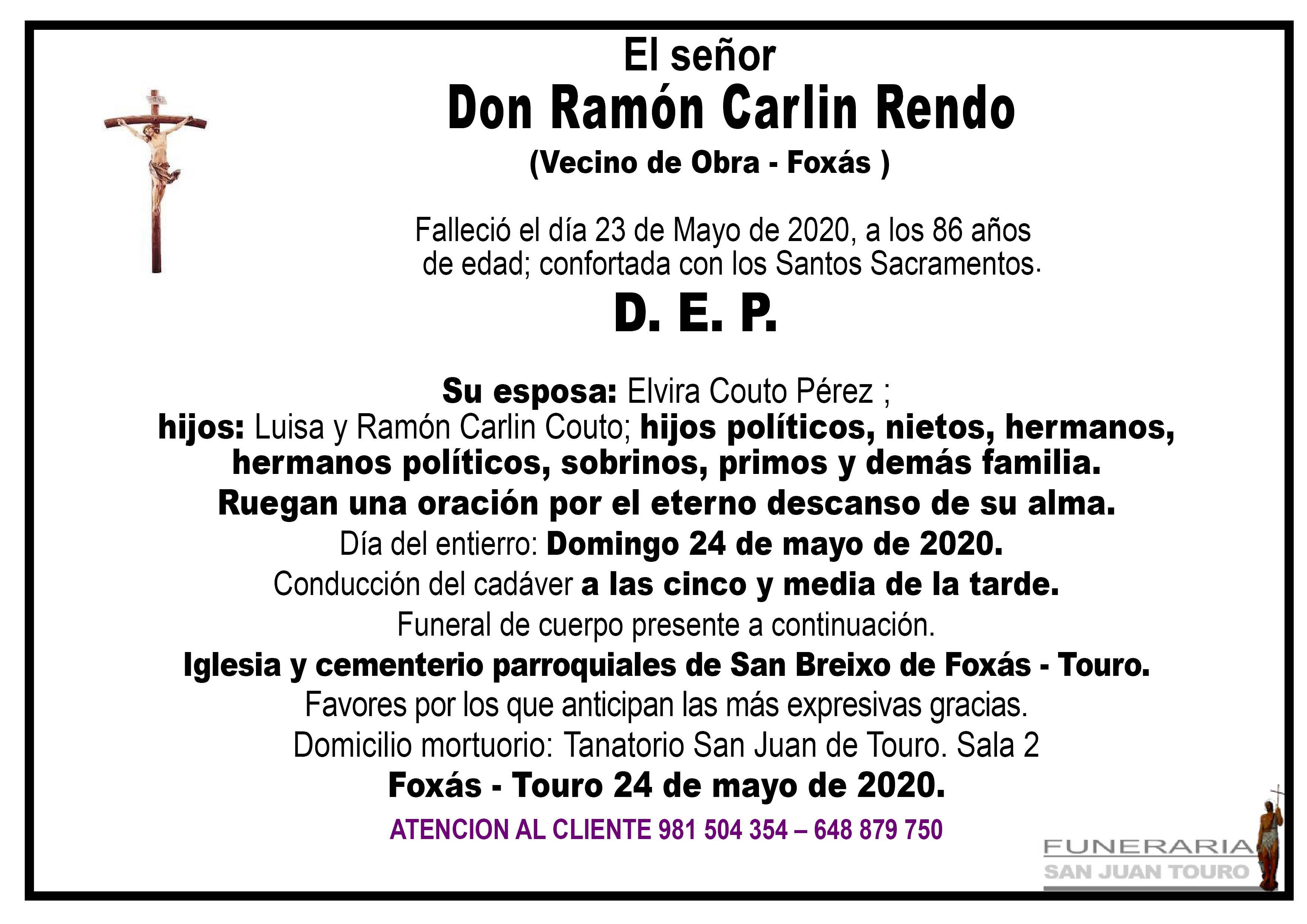 Esquela de SEPELIO DE DON RAMÓN CARLIN RENDO