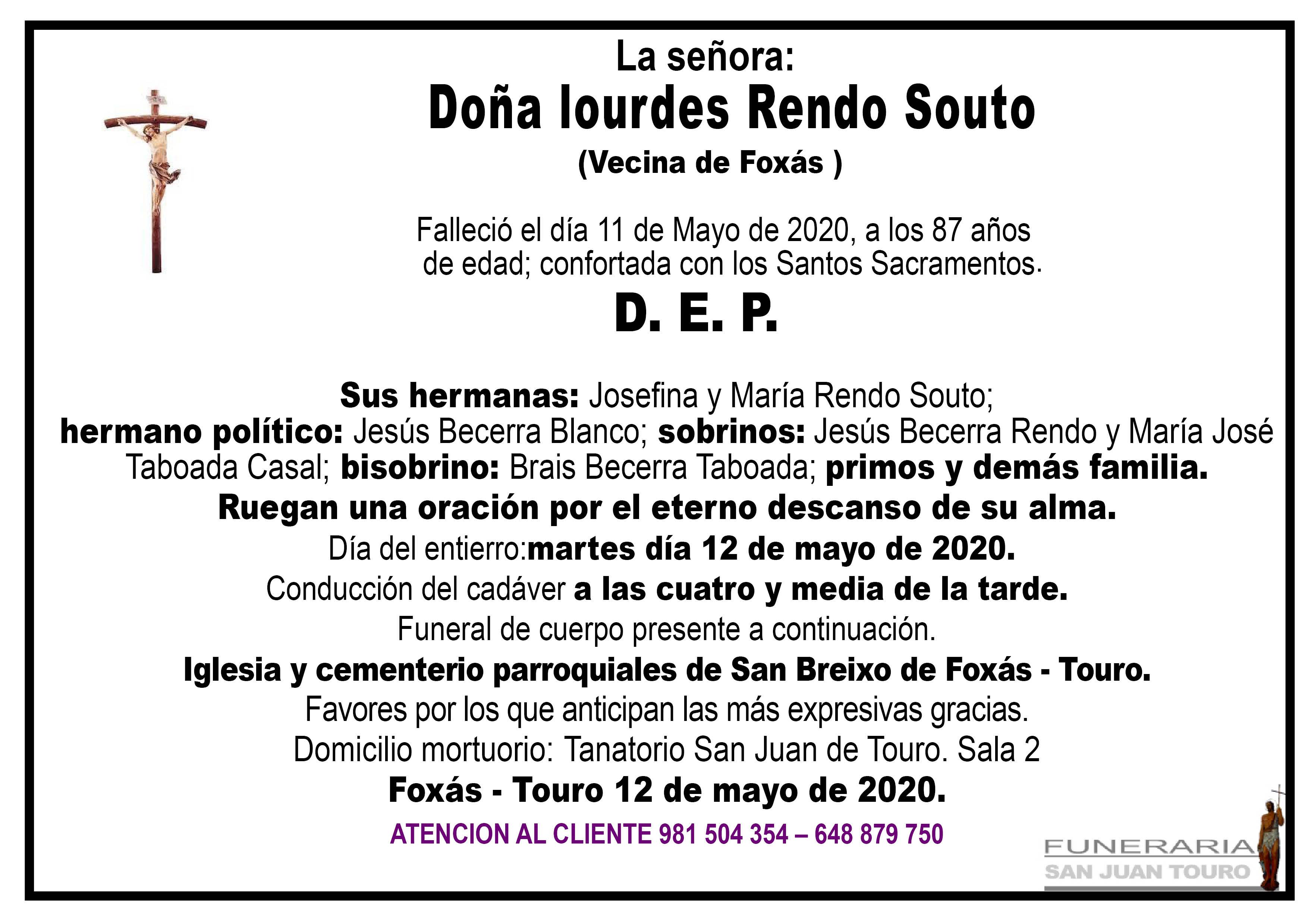 Esquela de SEPELIO DE DOÑA LOURDES RENDO SOUTO