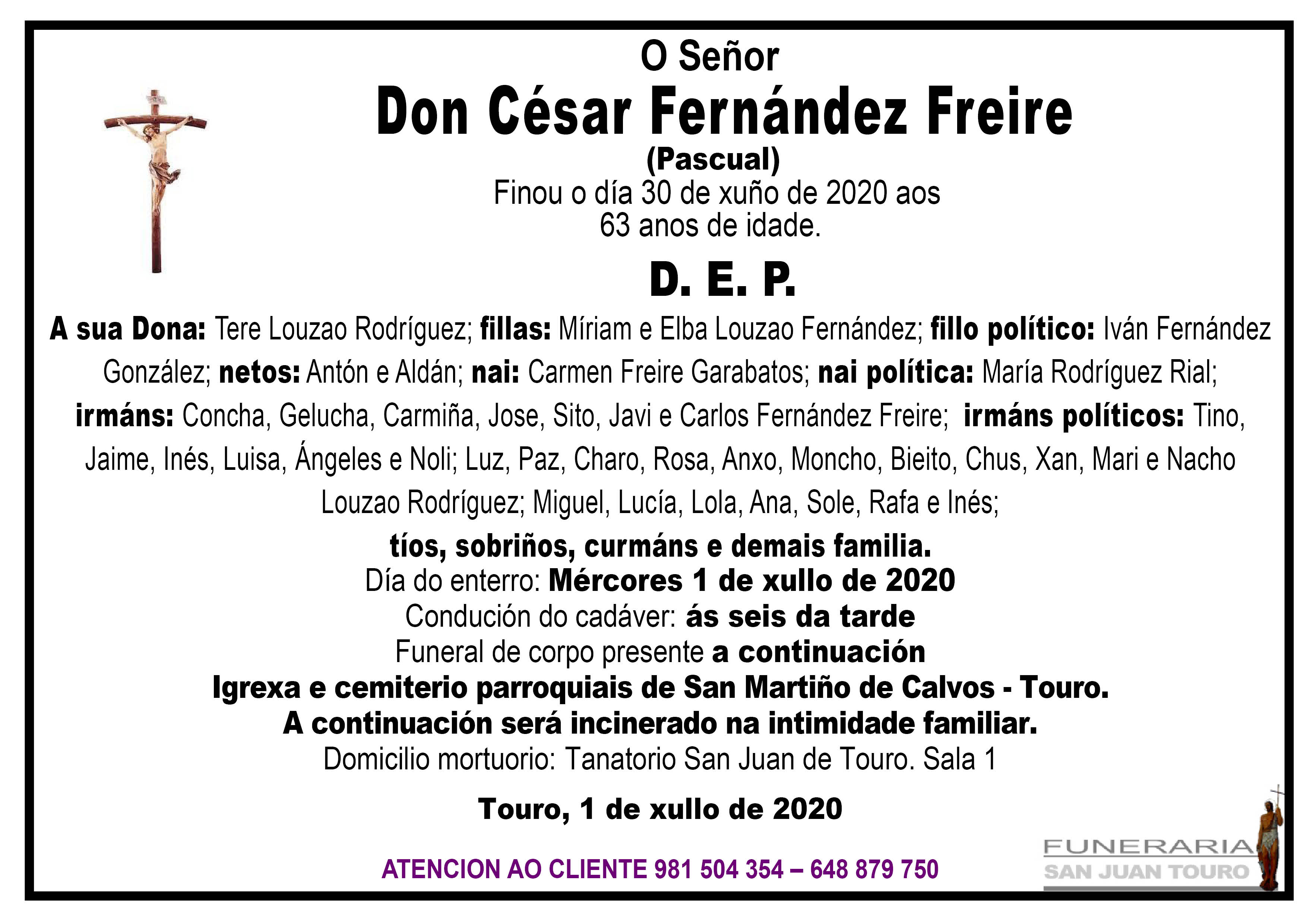 Esquela de SEPELIO DE  DON CESAR FERNANDEZ FREIRE