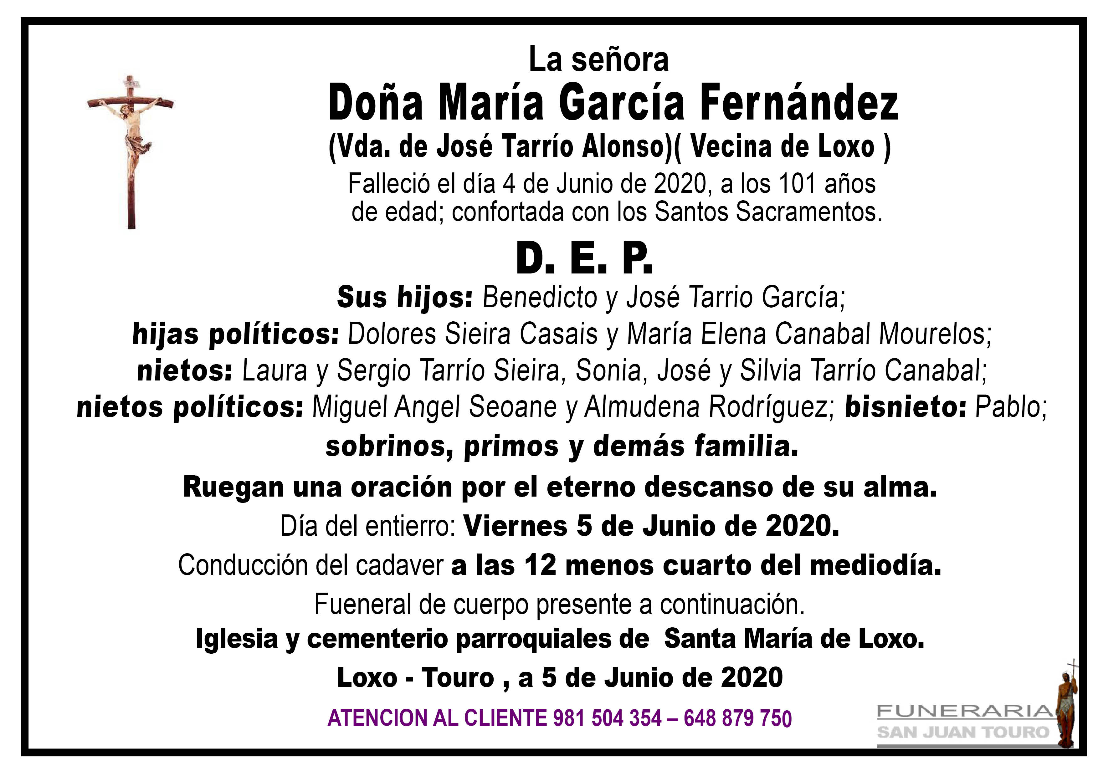 Esquela de SEPELIO DE DOÑA MARÍA GARCÍA FERNÁNDEZ