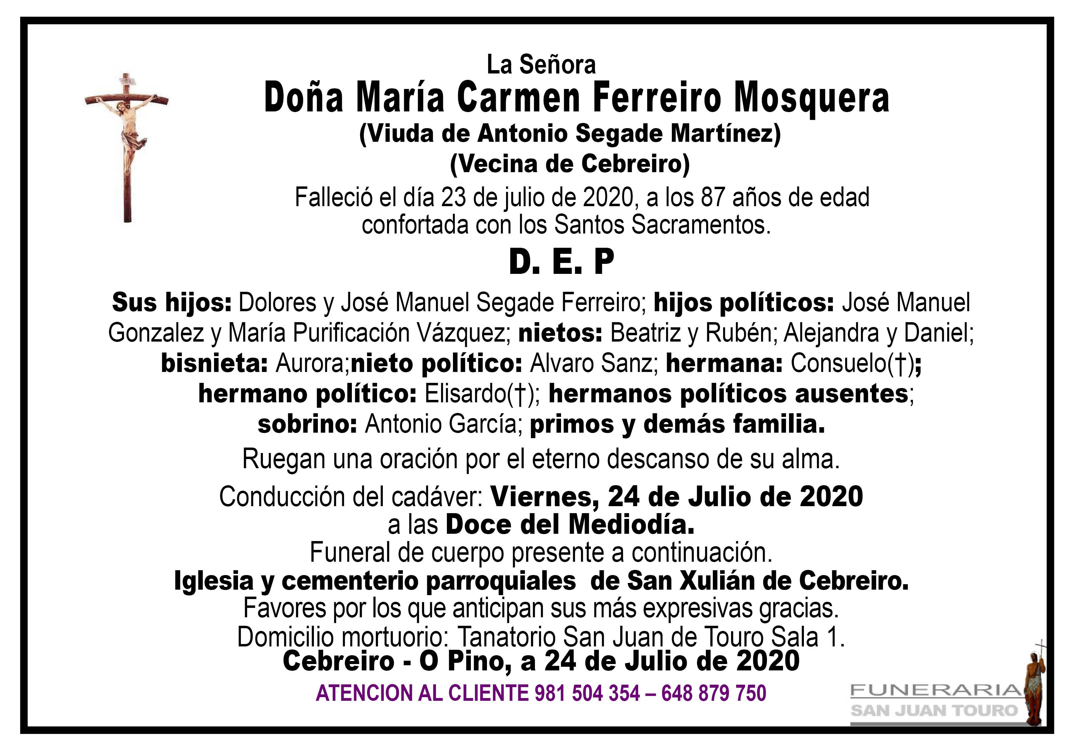 Esquela de DOÑA MARÍA CARMEN FERREIRO MOSQUERA