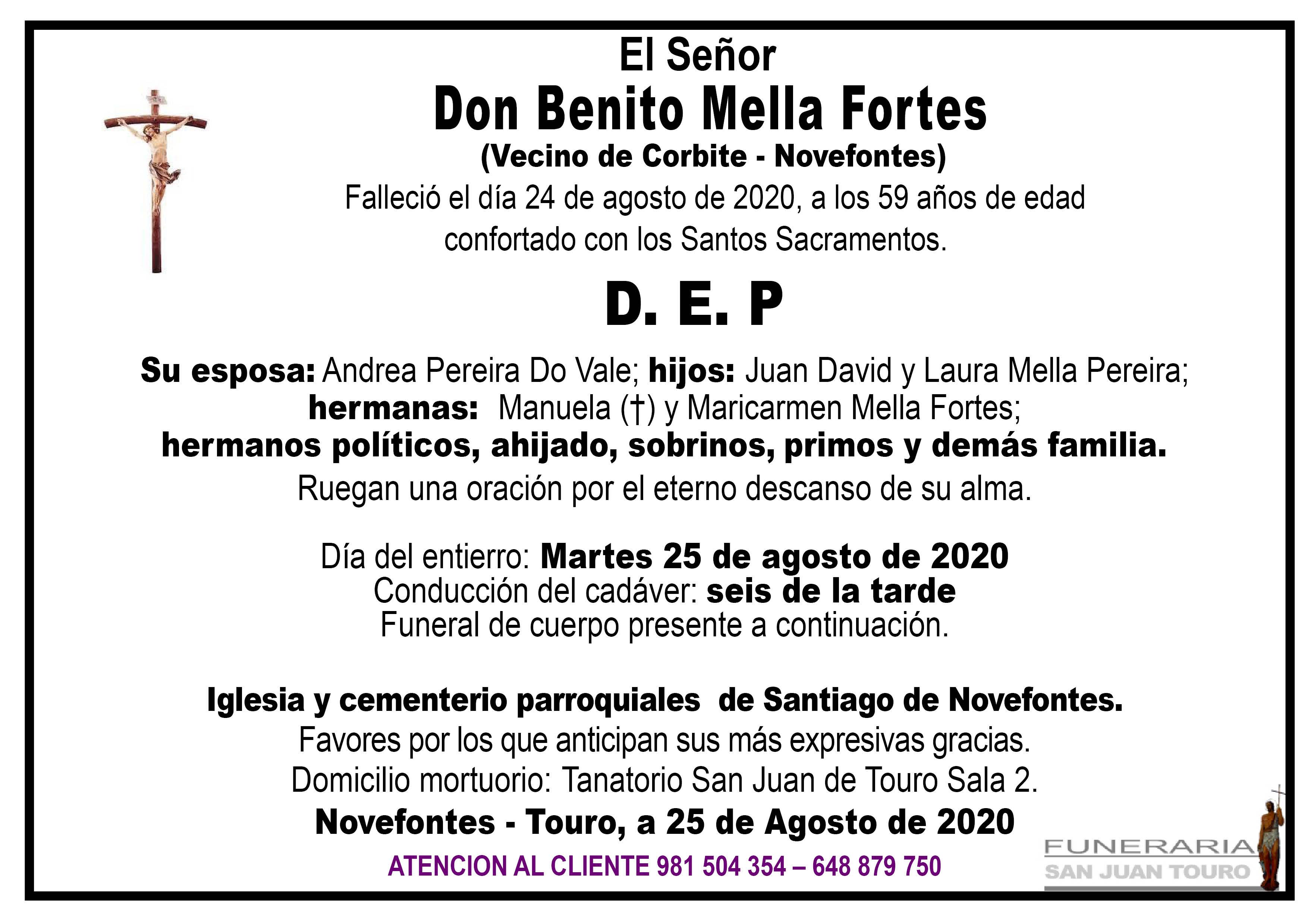 Esquela de SEPELIO DE DON BENITO MELLA FORTES