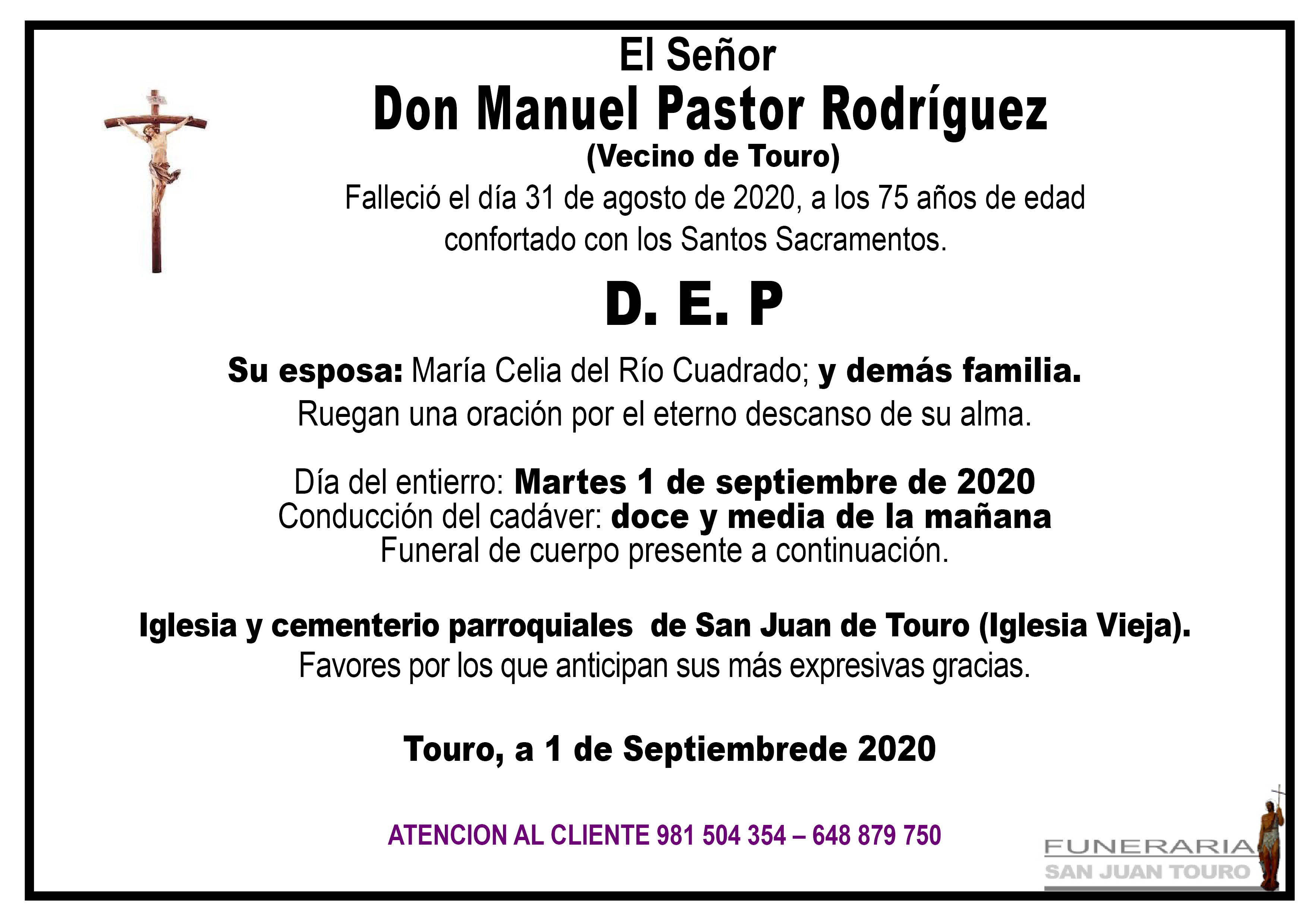 Esquela de SEPELIO DE DON MANUEL PASTOR RODRÍGUEZ