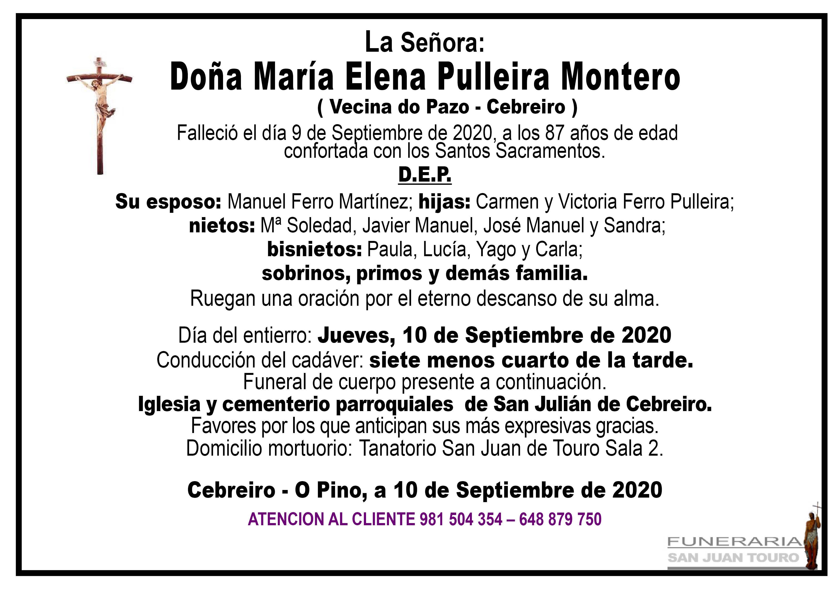 Esquela de SEPELIO DE DOÑA Mª ELENA PULLEIRA MONTERO