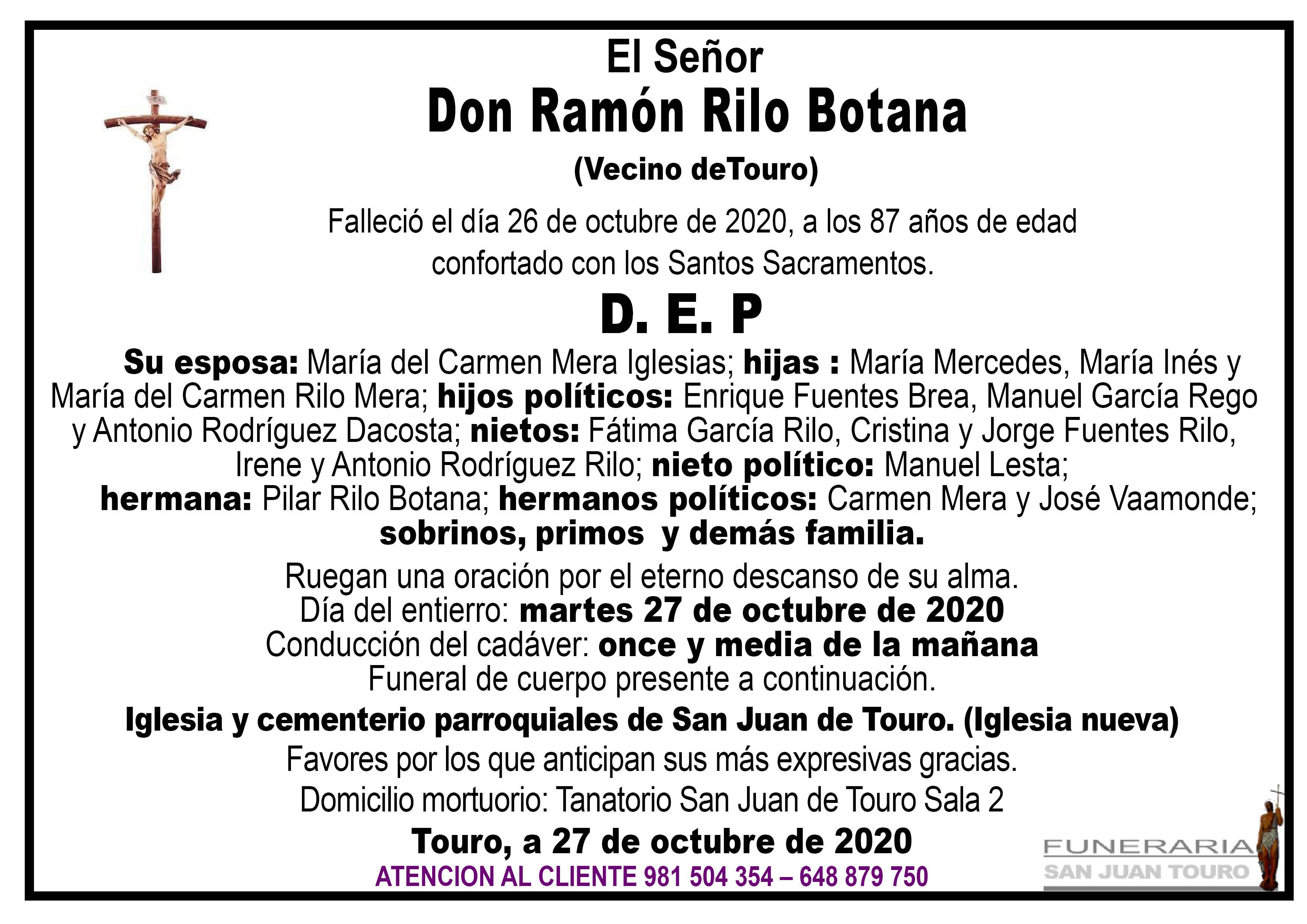 Esquela de SEPELIO DE DON RAMÓN RILO BOTANA
