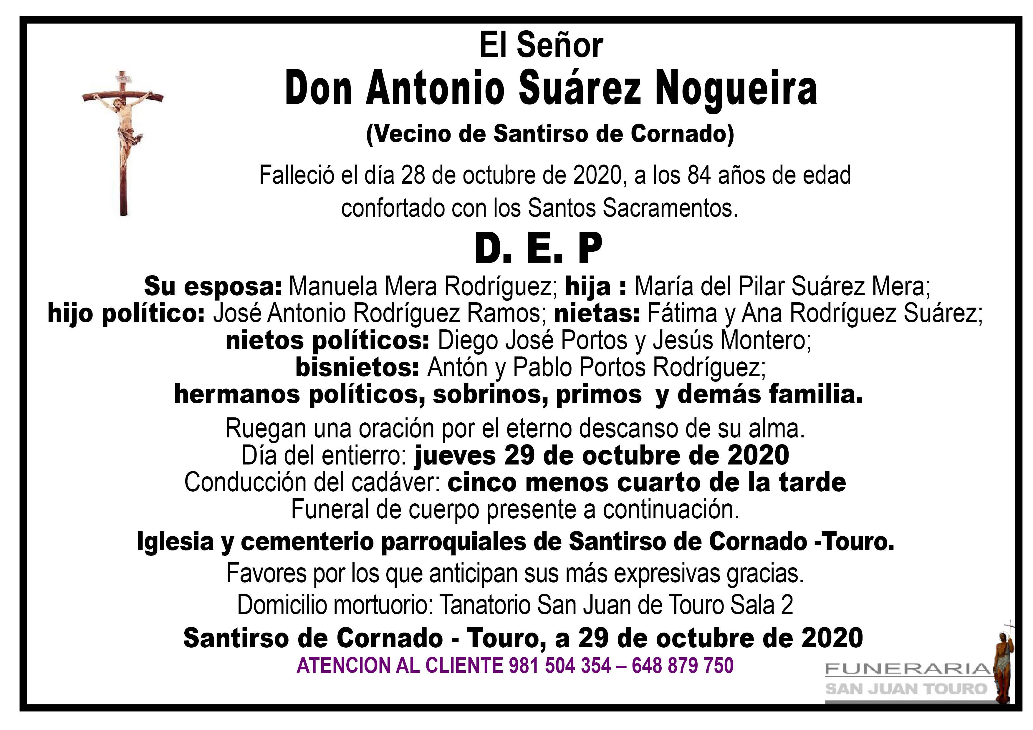 Esquela de SEPELIO DE DON ANTONIO SUÁREZ NOGUEIRA