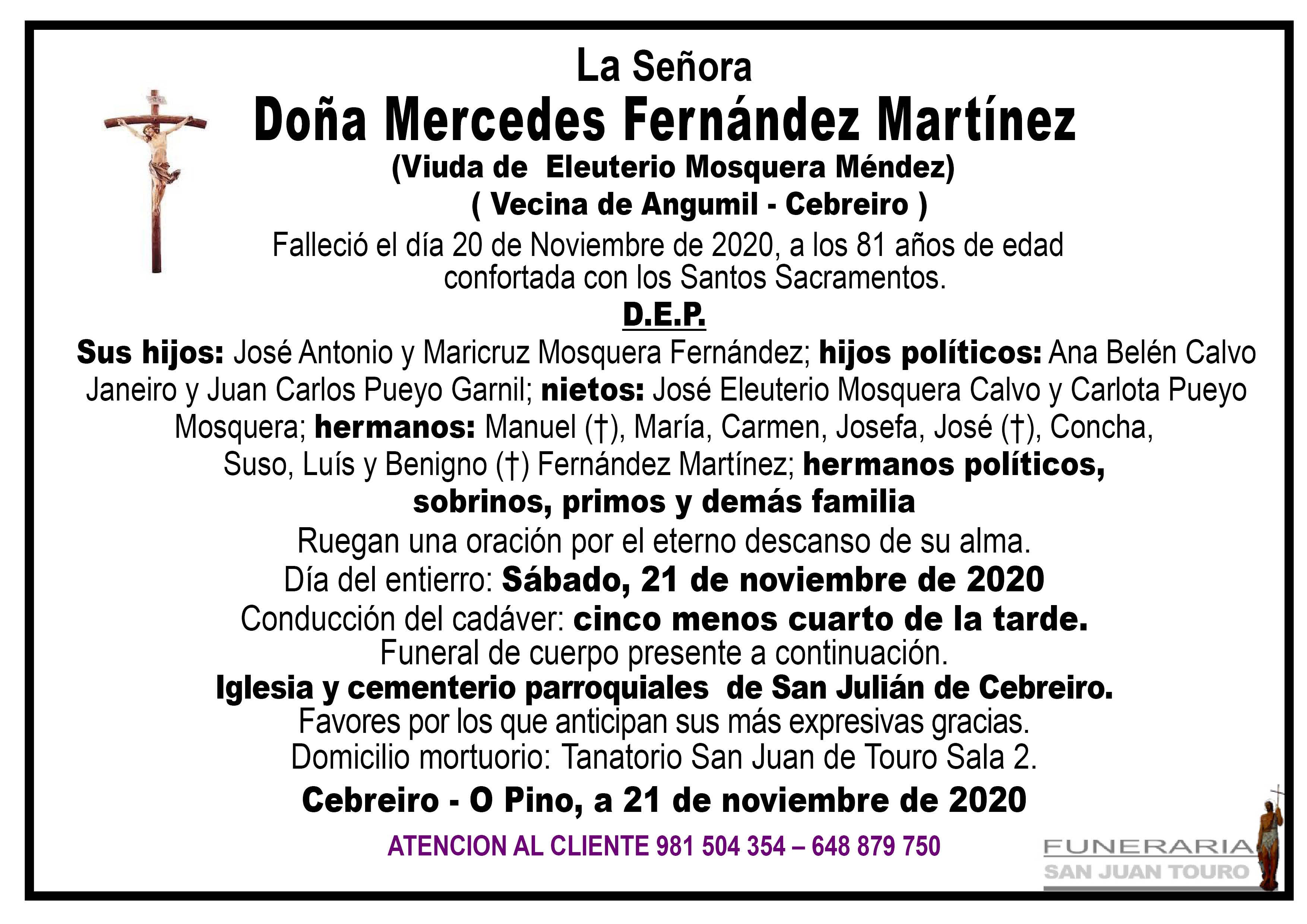 Esquela de SEPELIO DE DOÑA MERCEDES FERNÁNDEZ MARTÍNEZ