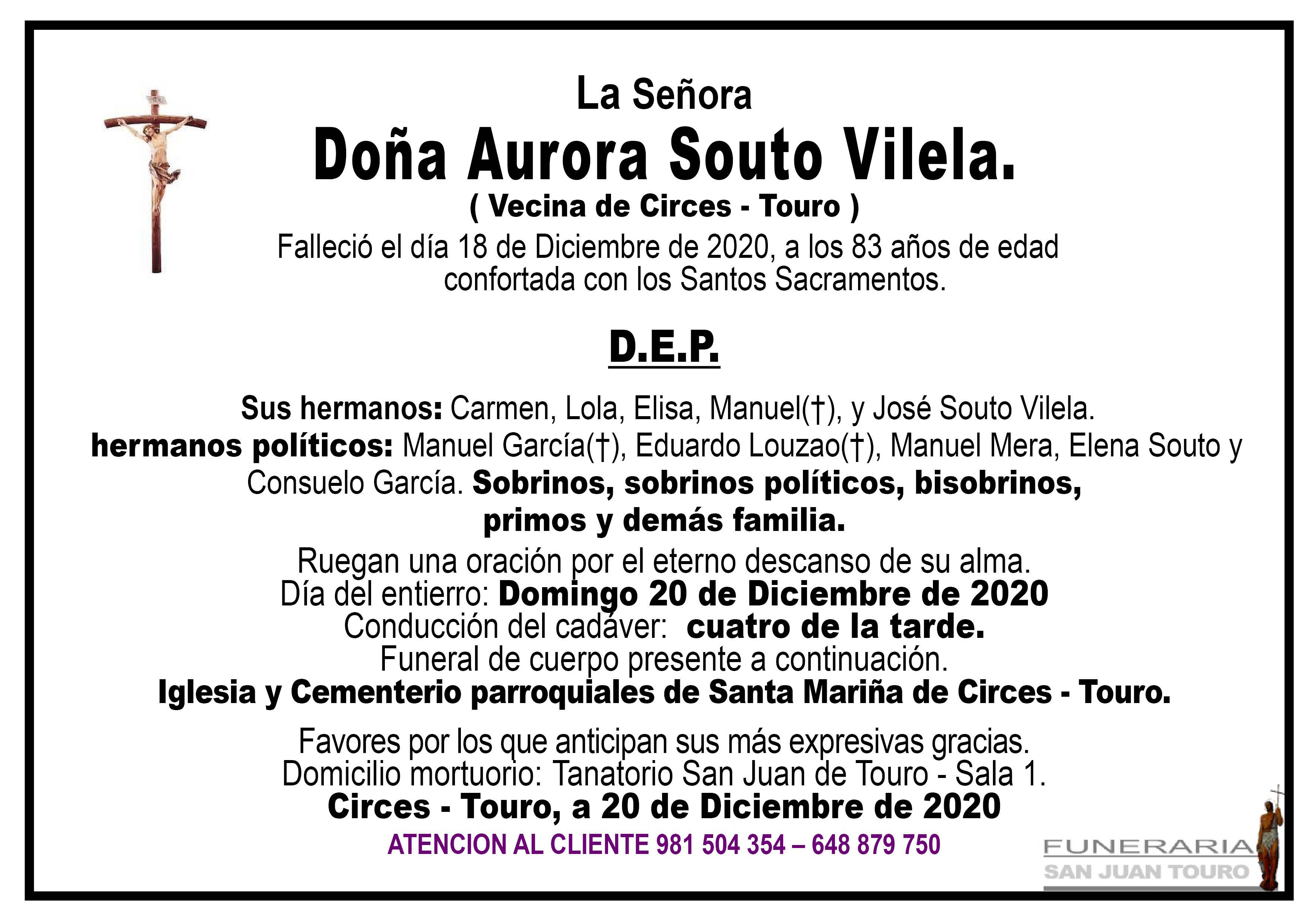 Esquela de SEPELIO DE DOÑA AURORA SOUTO VILELA.