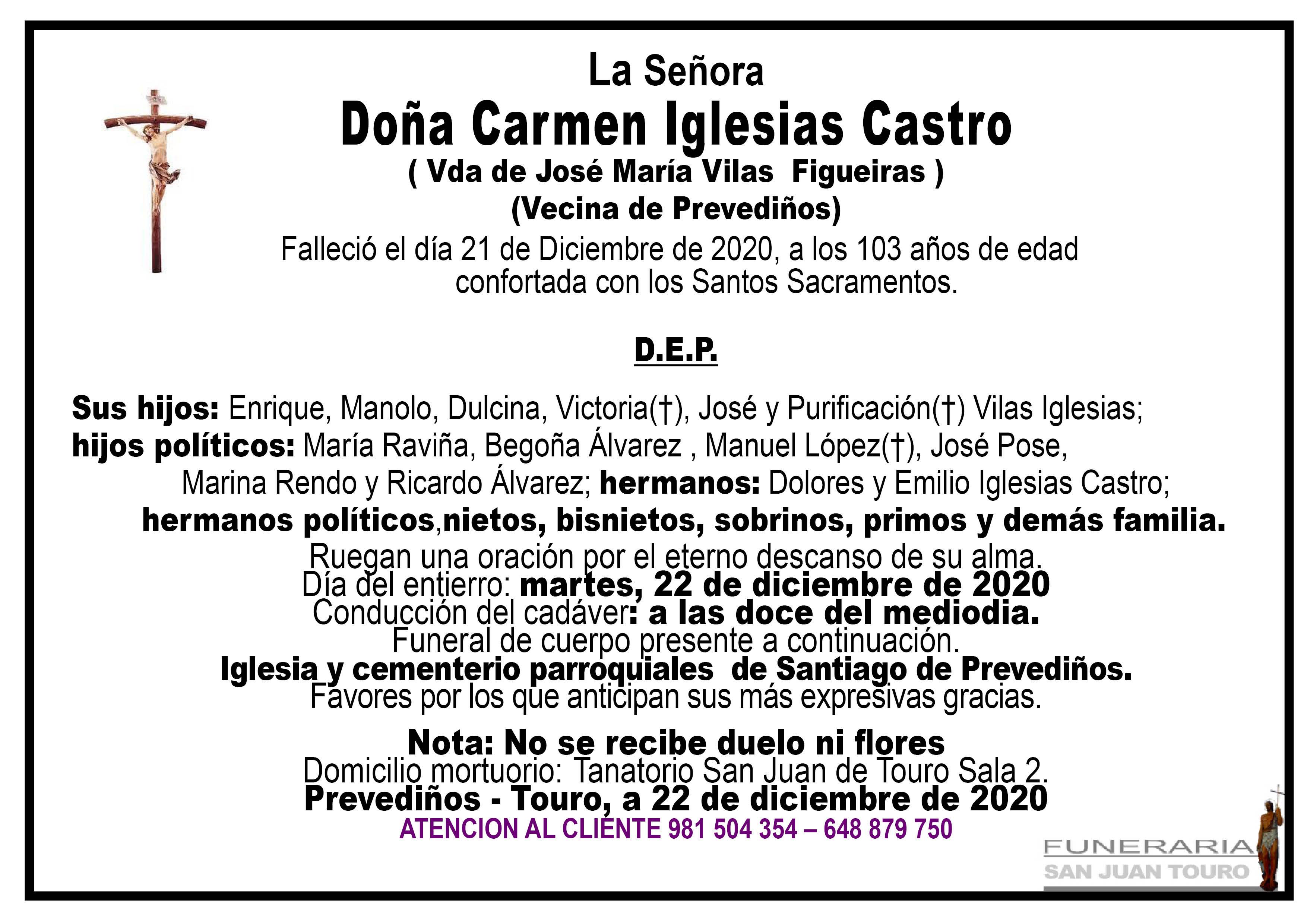 Esquela de SEPELIO DE DOÑA CARMEN IGLESIAS CASTRO